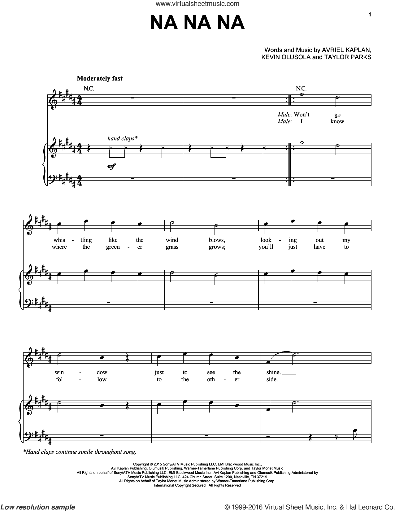 Na Na Na sheet music for voice, piano or guitar by Taylor Parks and Kevin Olusola. Score Image Preview.