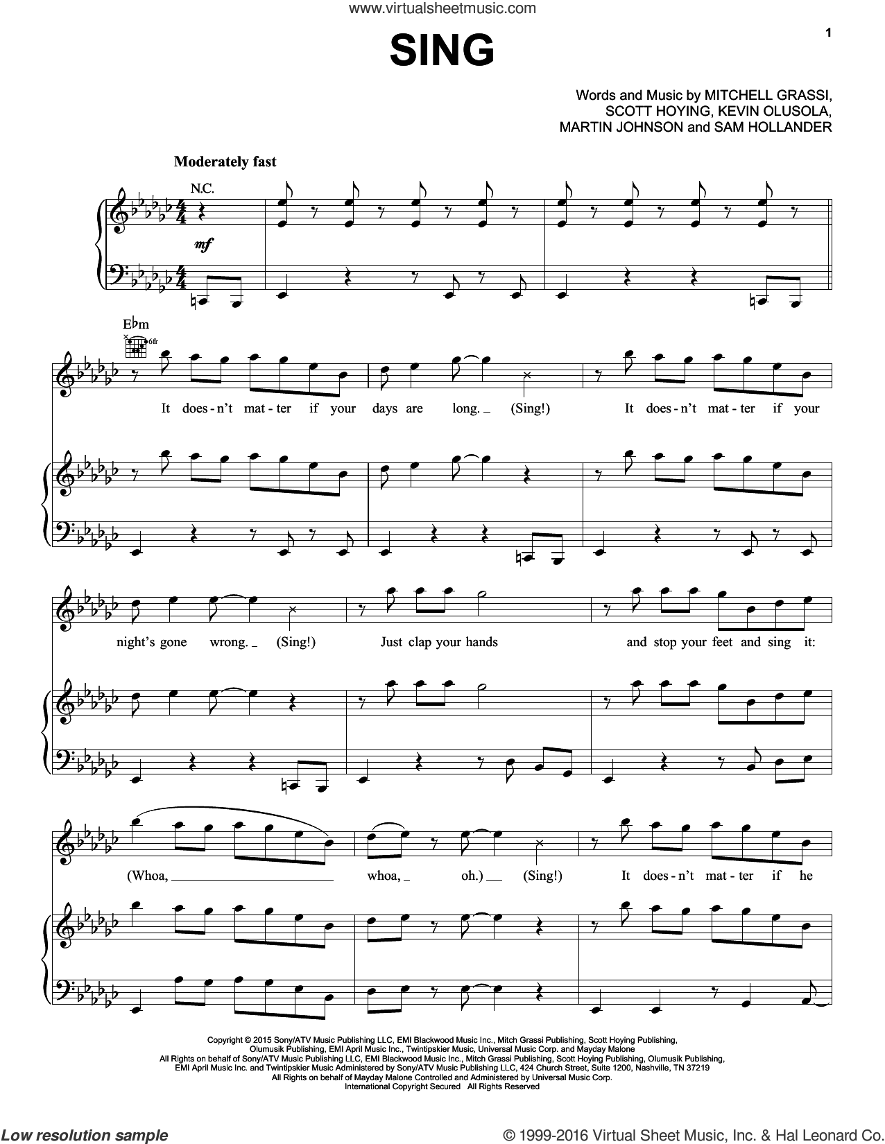 Sing sheet music for voice, piano or guitar by Pentatonix, Kevin Olusola, Martin Johnson, Mitchell Grassi, Sam Hollander and Scott Hoying, intermediate skill level