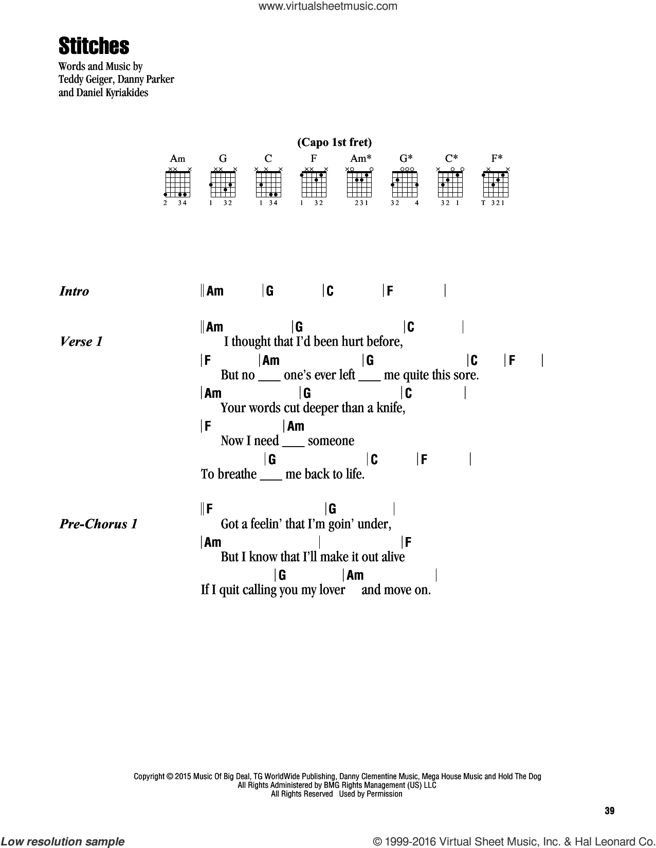 Stitches sheet music for guitar (chords) by Shawn Mendes and Teddy Geiger, intermediate guitar (chords). Score Image Preview.