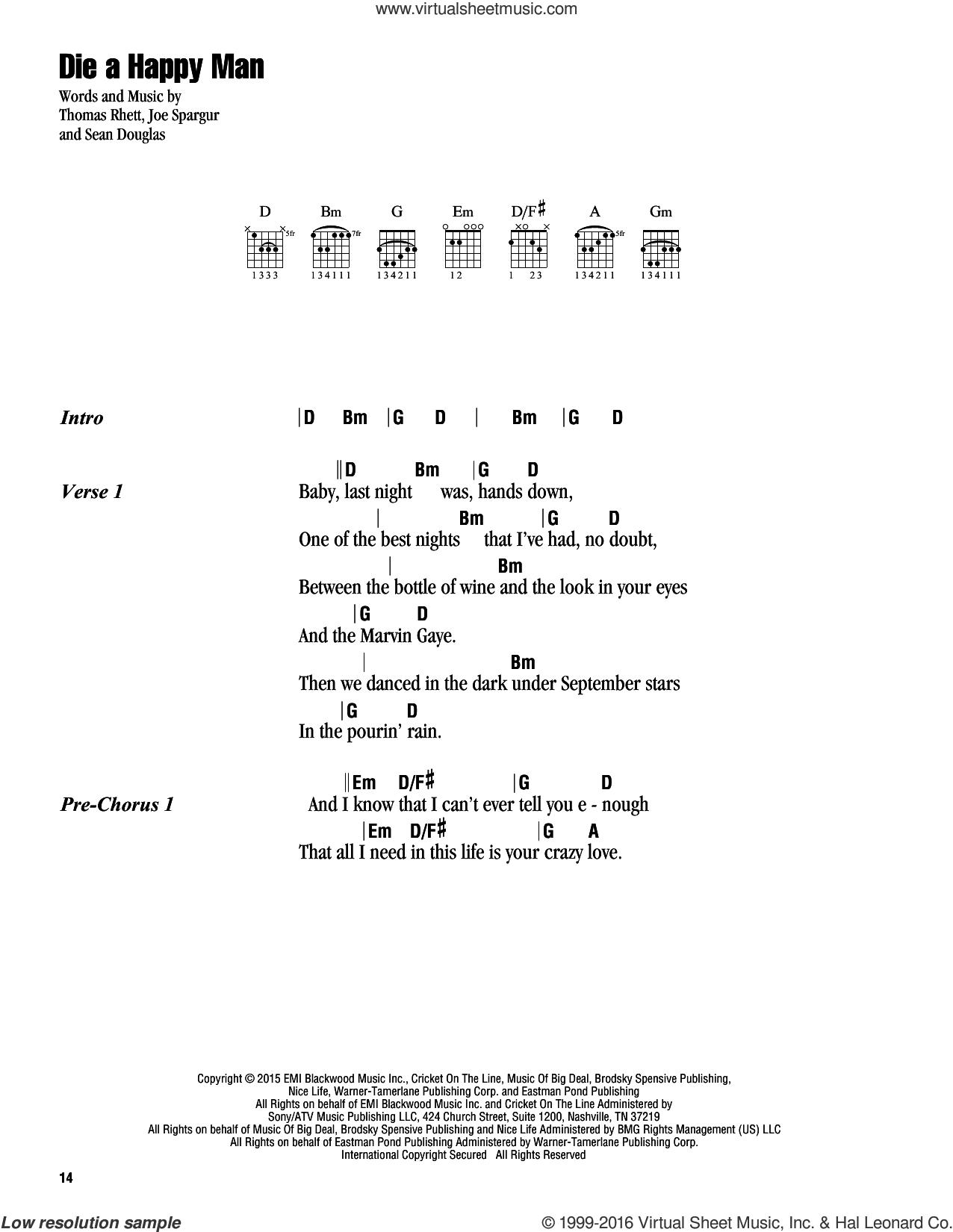 Die A Happy Man sheet music for guitar (chords) by Thomas Rhett, Joe Spargur and Sean Douglas, intermediate skill level