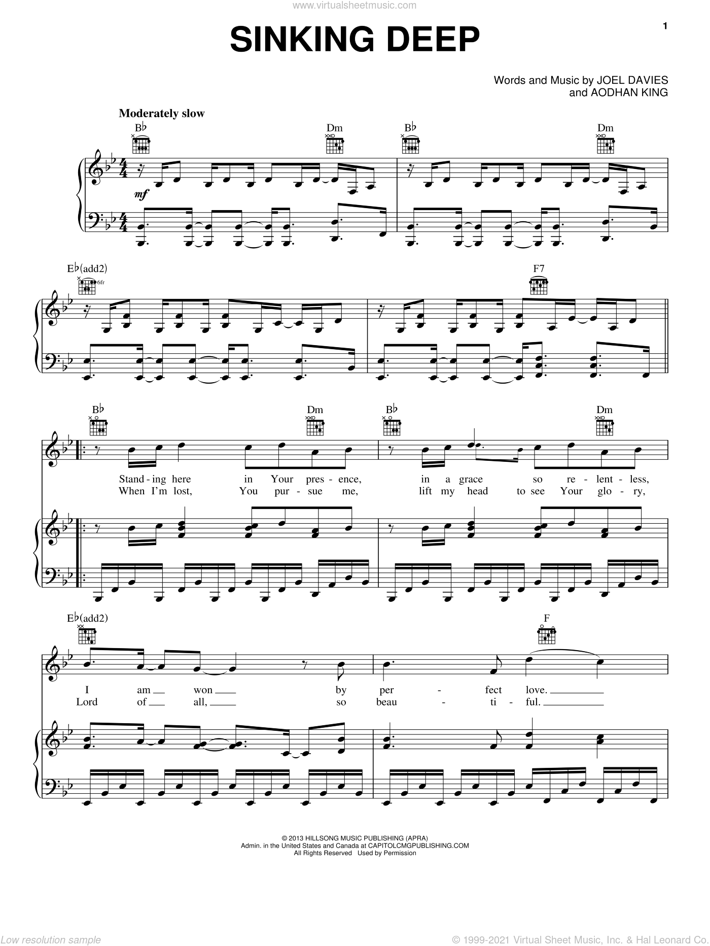 Sinking Deep sheet music for voice, piano or guitar by Aodhan King and Joel Davies, intermediate skill level