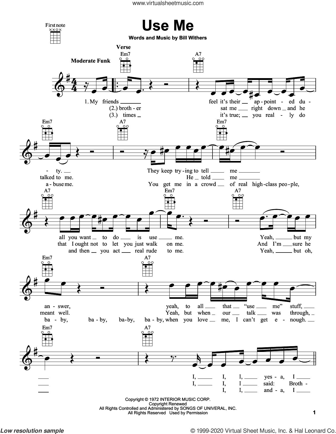 Use Me sheet music for ukulele by Bill Withers, intermediate skill level