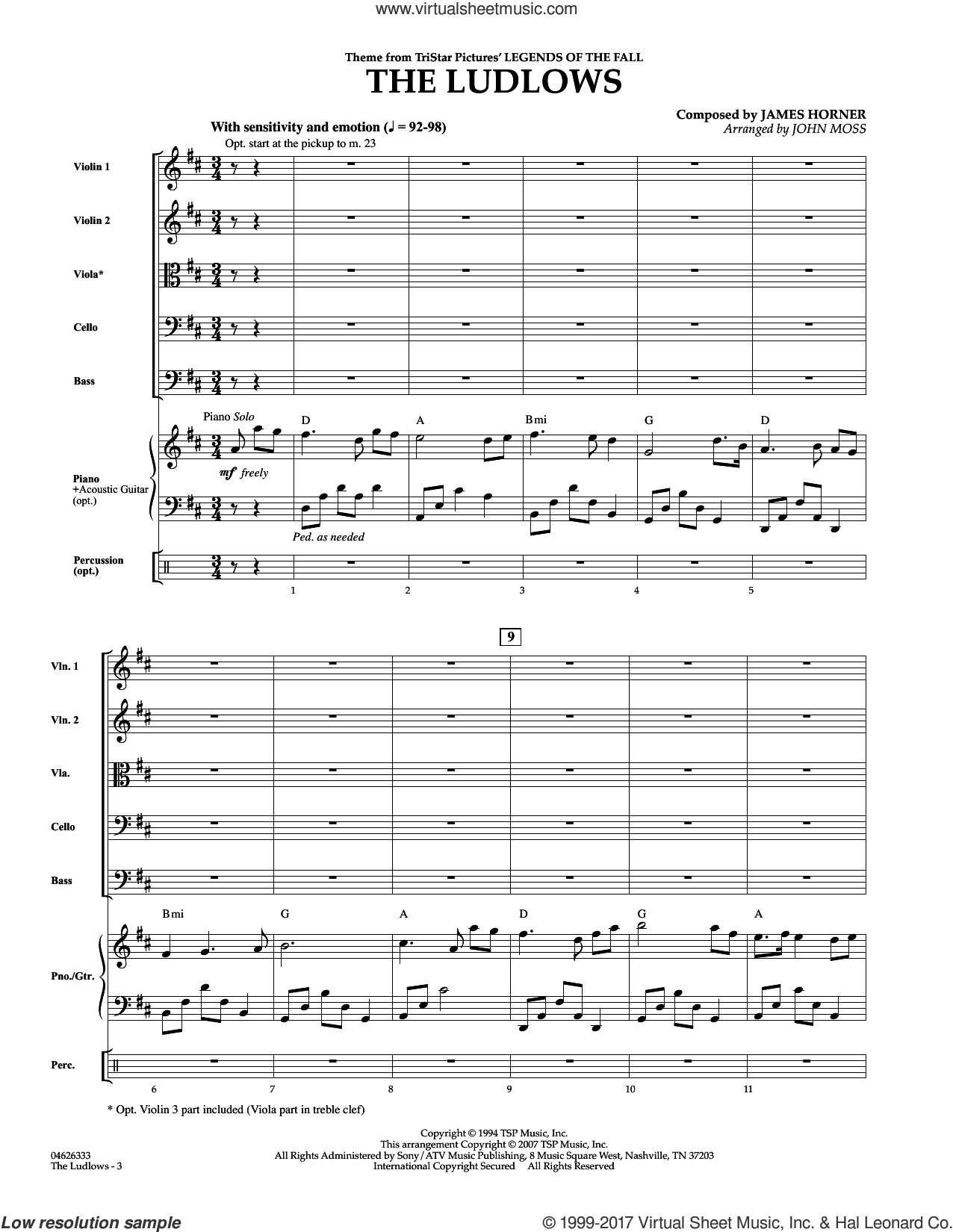 The Ludlows (Theme from Legends of the Fall) (COMPLETE) sheet music for orchestra by James Horner and John Moss, intermediate orchestra. Score Image Preview.