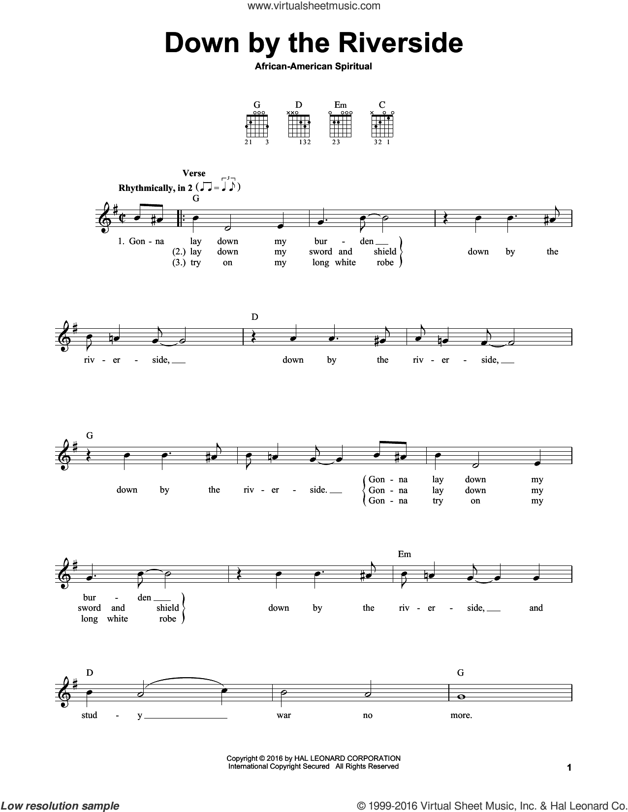 Down By The Riverside sheet music for guitar solo (chords). Score Image Preview.