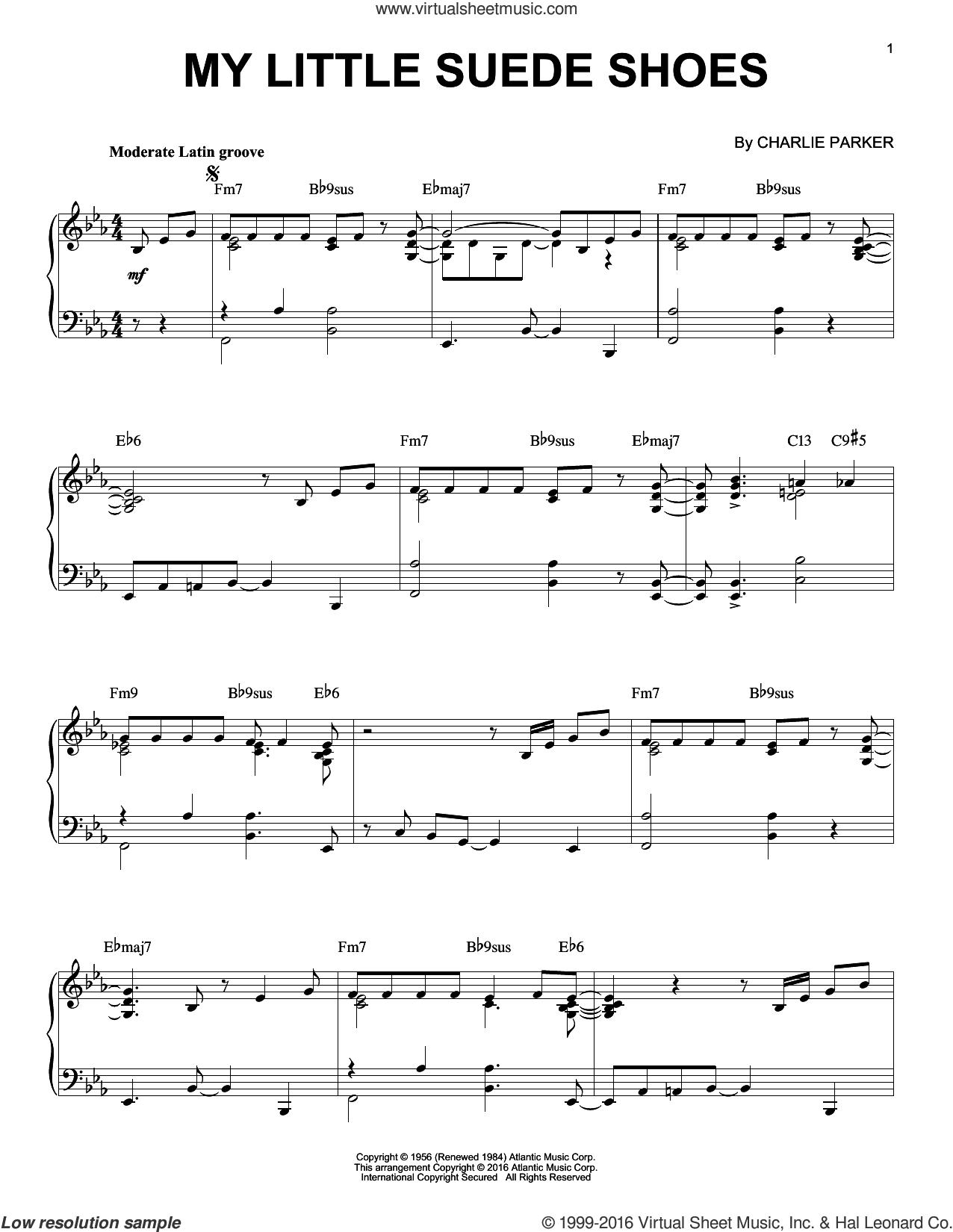 My Little Suede Shoes sheet music for piano solo by Charlie Parker, intermediate skill level