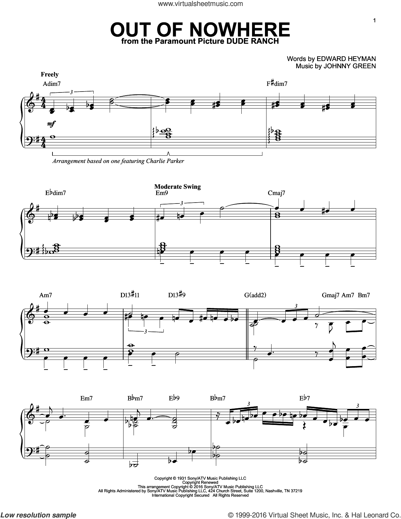 Out Of Nowhere sheet music for piano solo by Charlie Parker, Buddy DeFranco, Edward Heyman and Johnny Green, intermediate skill level