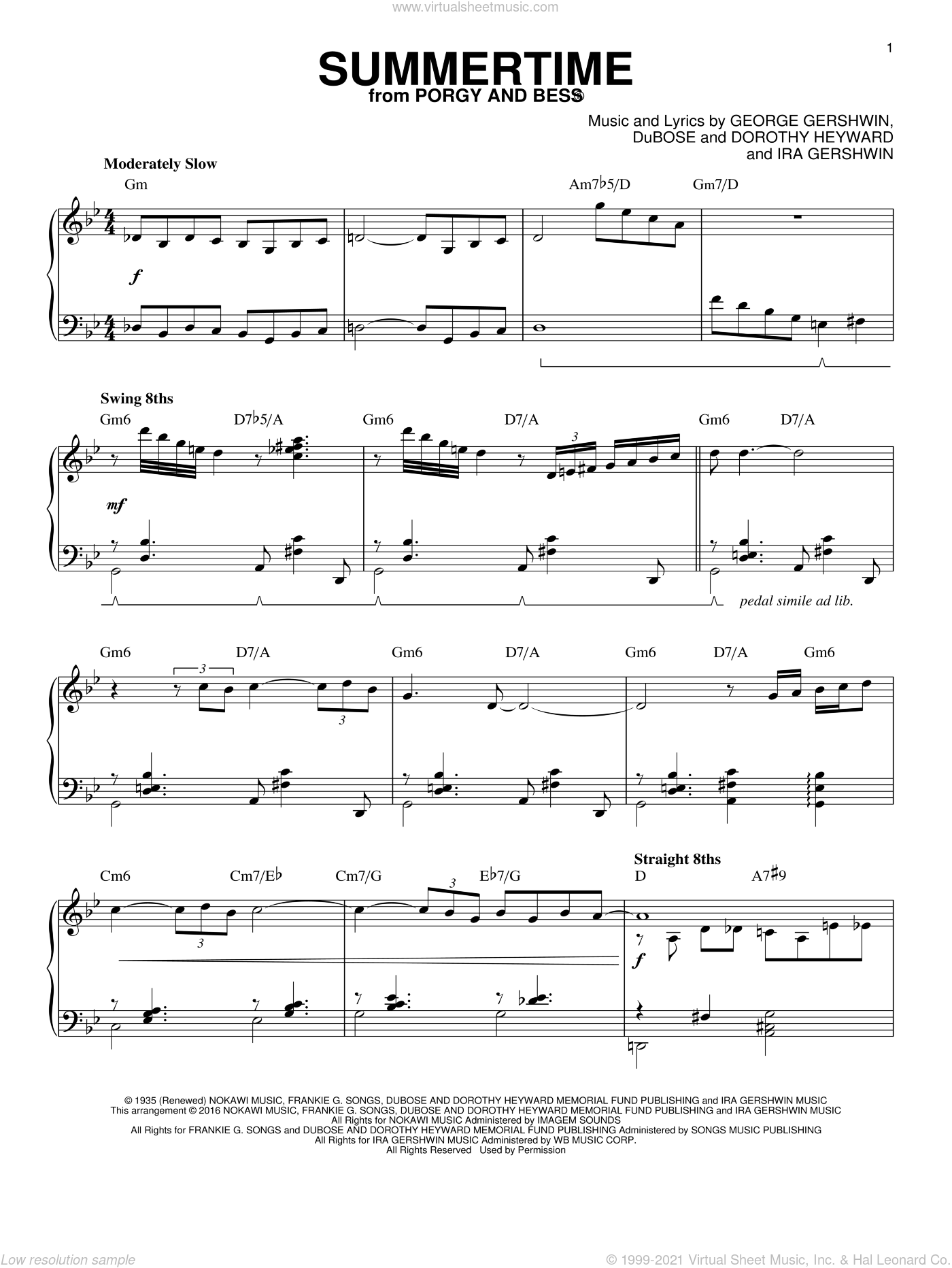 Summertime sheet music for piano solo by Charlie Parker, Dorothy Heyward, DuBose Heyward, George Gershwin and Ira Gershwin, intermediate skill level