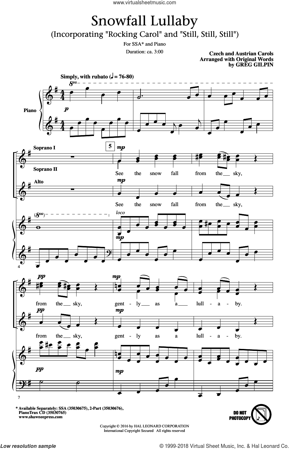 Snowfall Lullaby sheet music for choir and piano (SSA) by Greg Gilpin. Score Image Preview.