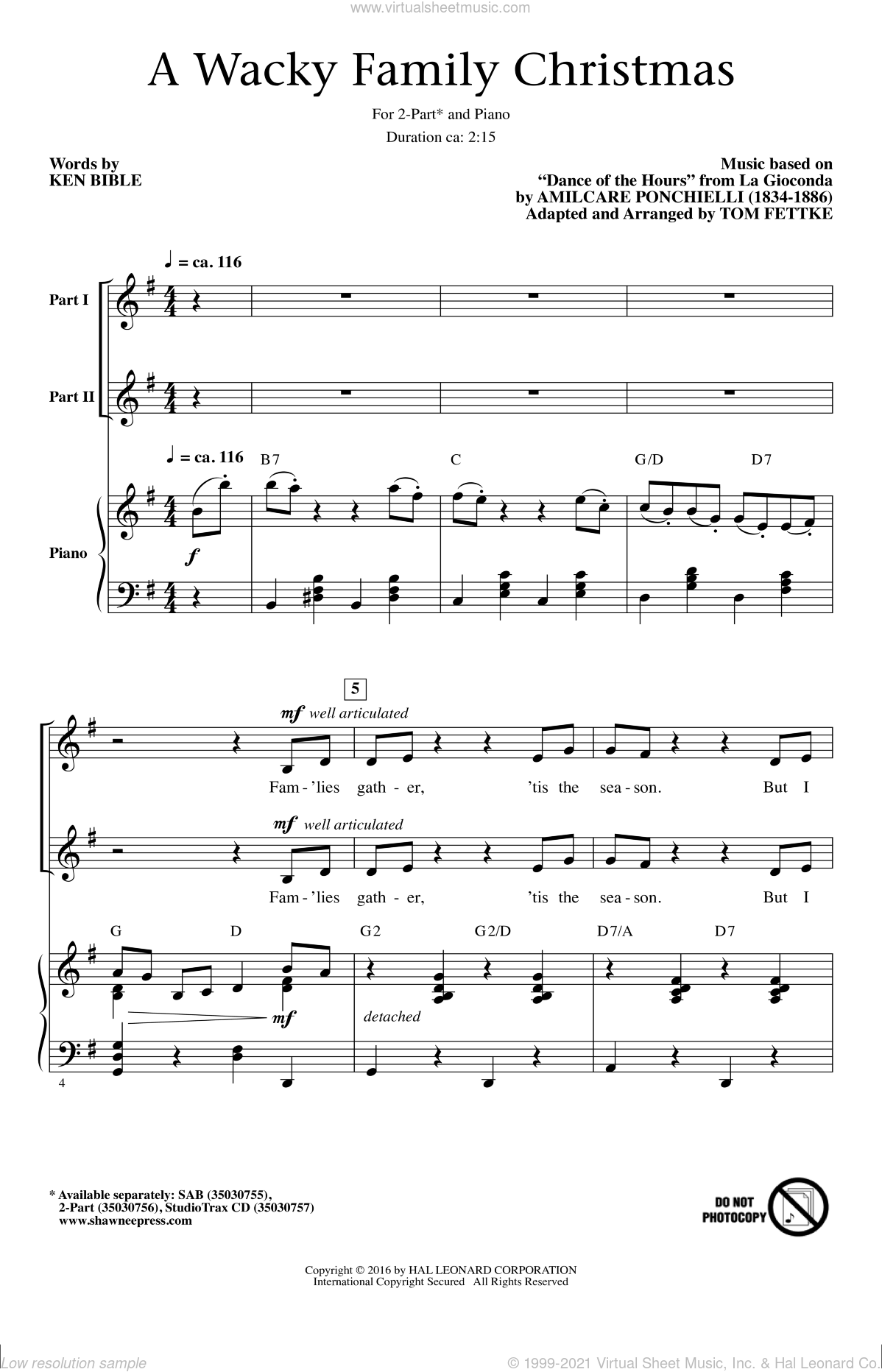 A Wacky Family Christmas sheet music for choir (2-Part) by Amilcare Ponchielli, Tom Fettke and Ken Bible, intermediate duet