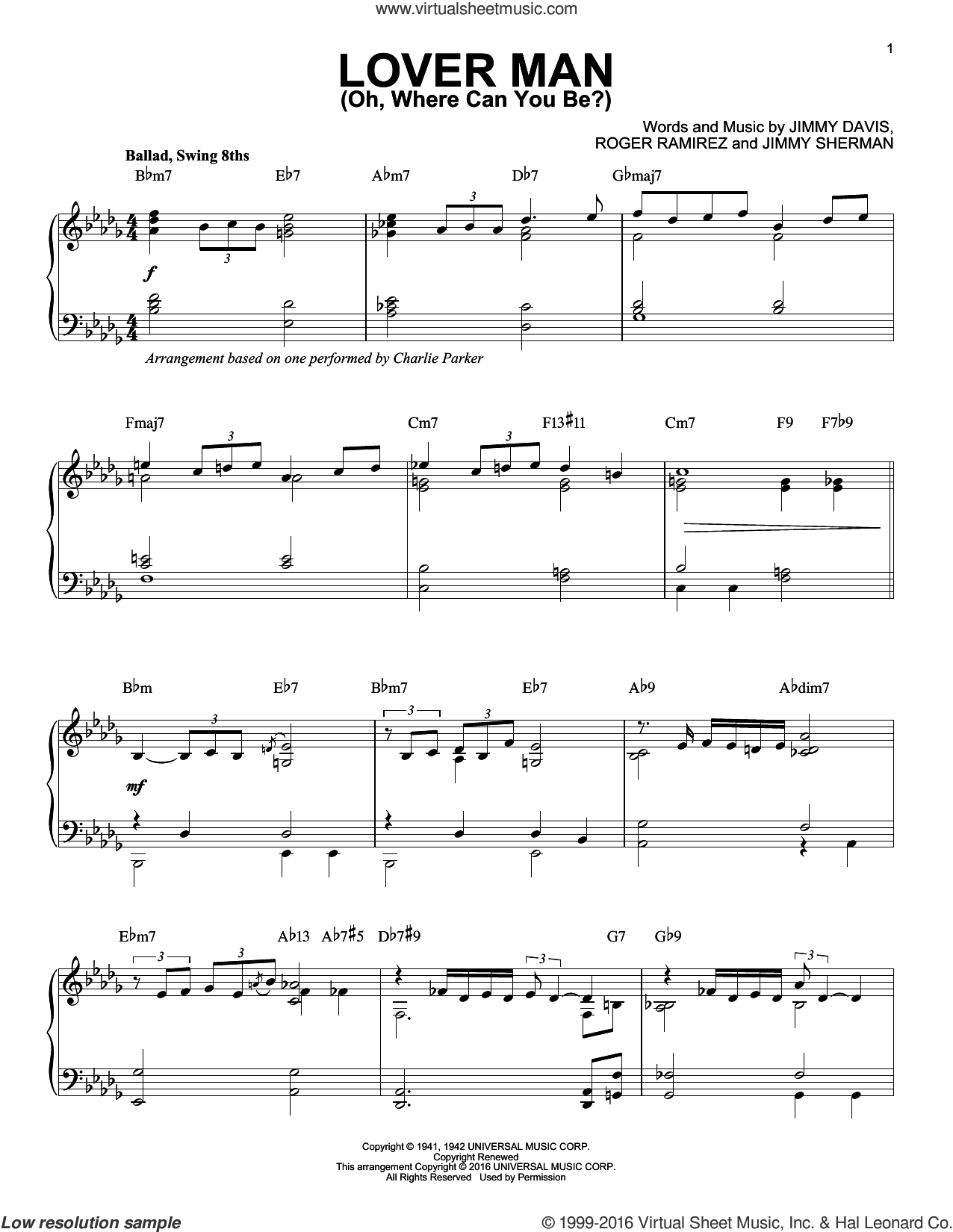 Lover Man (Oh, Where Can You Be?) sheet music for piano solo by Charlie Parker, Billie Holiday, Jimmie Davis, Jimmy Sherman and Roger Ramirez, intermediate skill level
