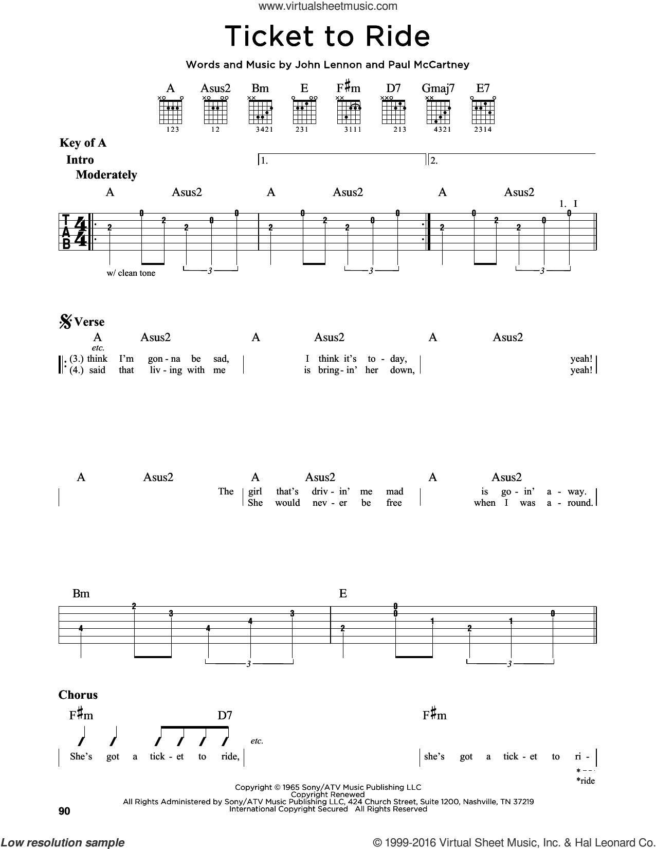 Ticket To Ride sheet music for guitar solo (lead sheet) by The Beatles, Carpenters, John Lennon and Paul McCartney, intermediate guitar (lead sheet)
