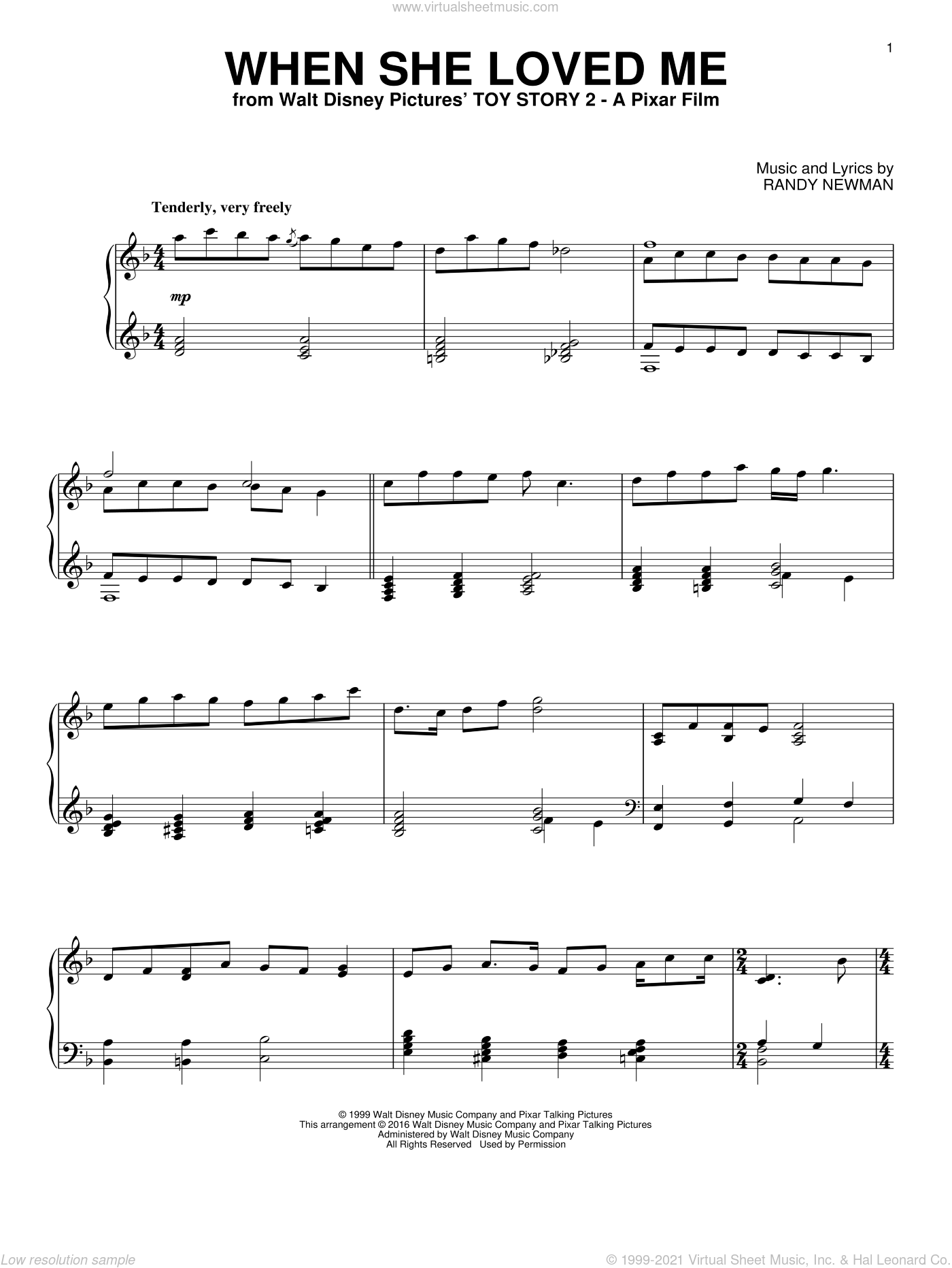 When She Loved Me sheet music for piano solo by Sarah McLachlan and Randy Newman. Score Image Preview.