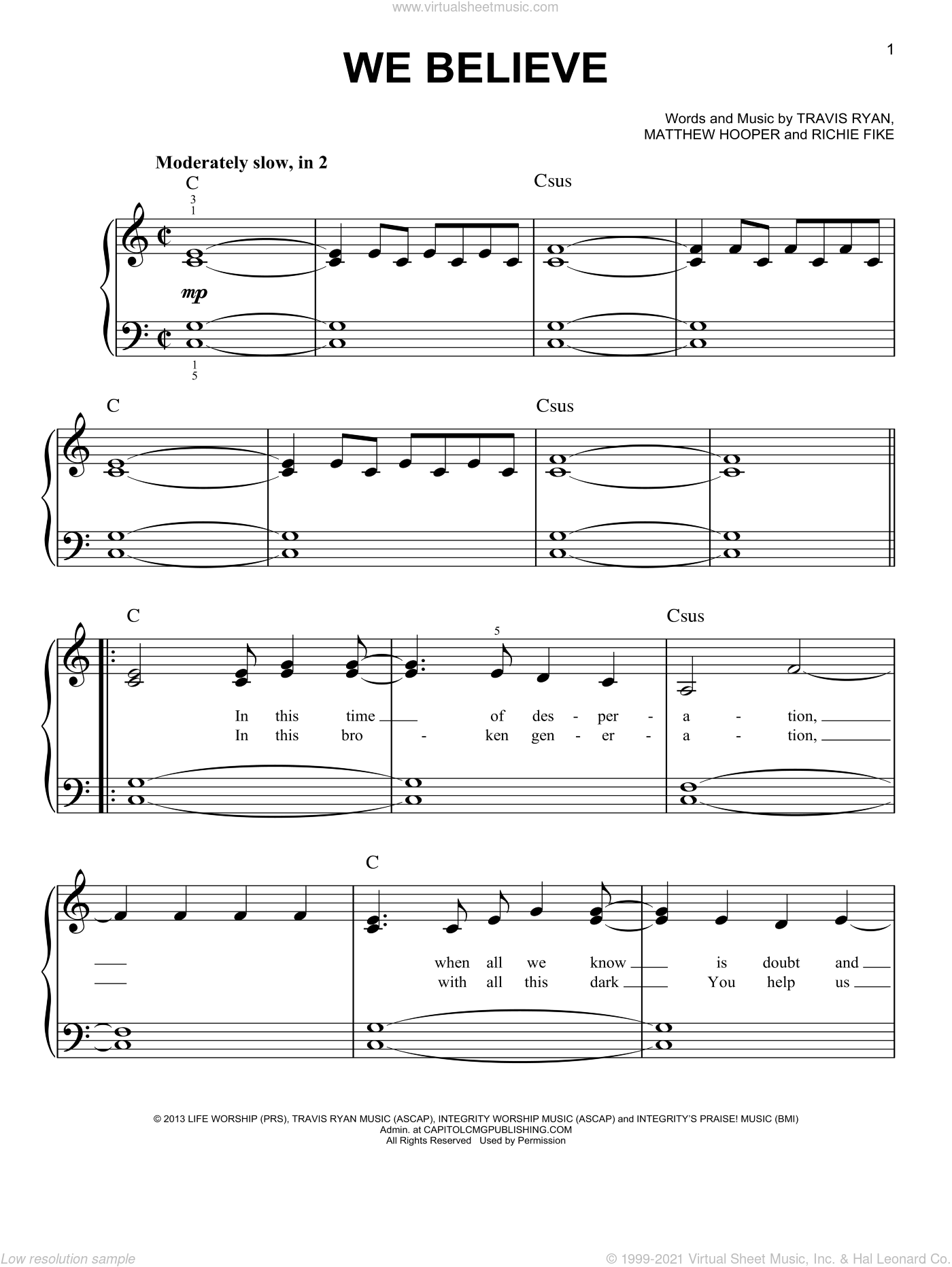 We Believe sheet music for piano solo by Newsboys, Matthew Hooper, Richie Fike and Travis Ryan, easy skill level