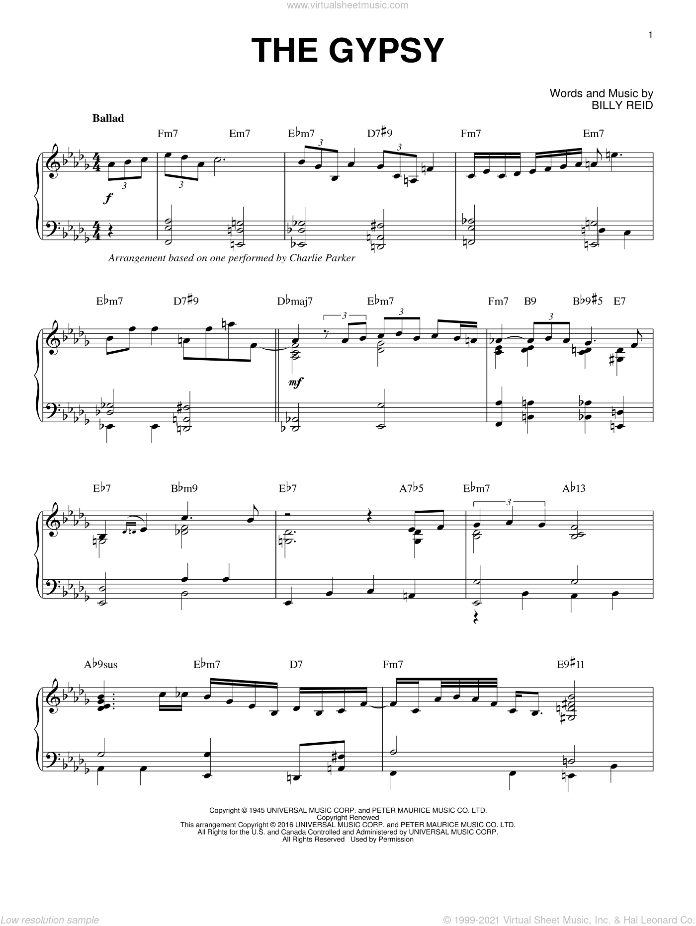 The Gypsy sheet music for piano solo by Charlie Parker and Billy Reid, intermediate. Score Image Preview.