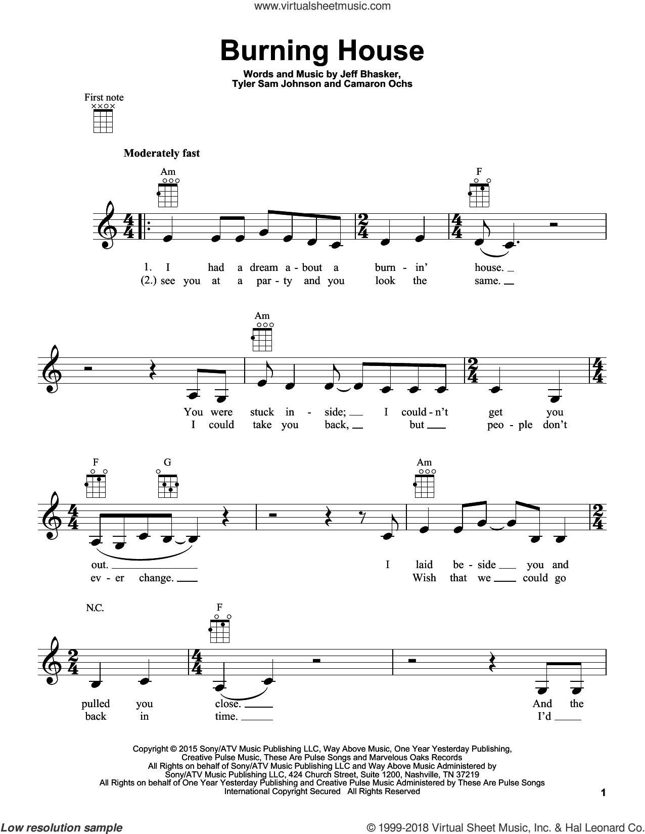 Cam burning house sheet music for ukulele for First house music