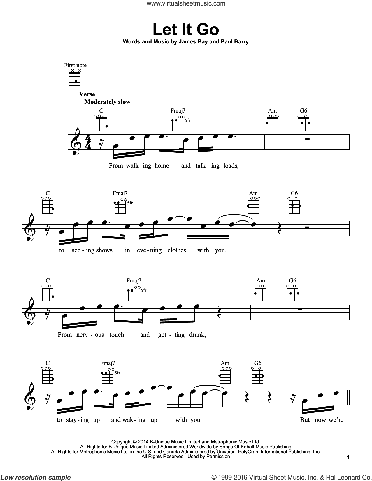 Let It Go sheet music for ukulele by James Bay and Paul Barry, intermediate skill level