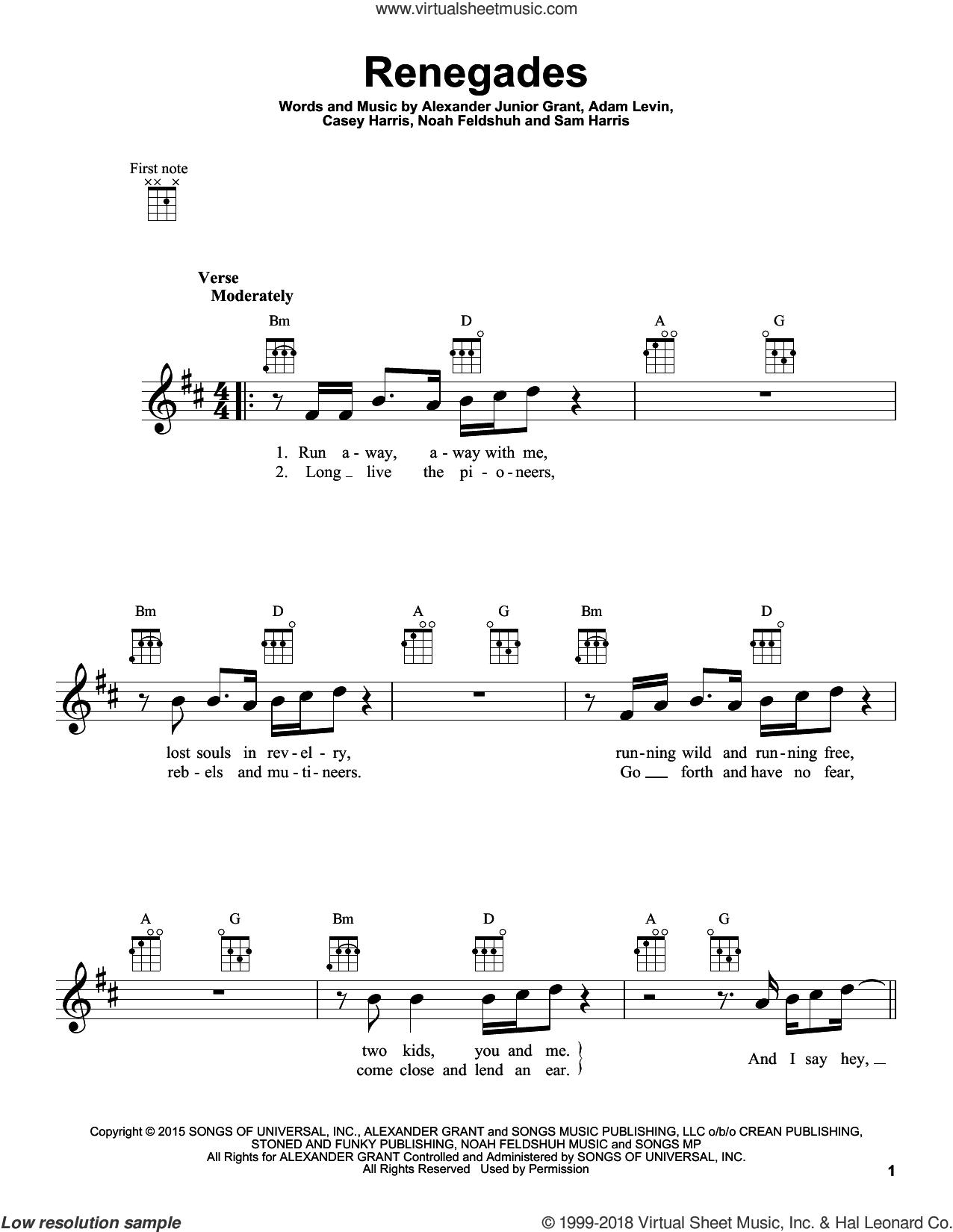Renegades sheet music for ukulele by X Ambassadors, Adam Levin, Alexander Junior Grant, Casey Harris, Noah Feldshuh and Samuel Harris, intermediate skill level