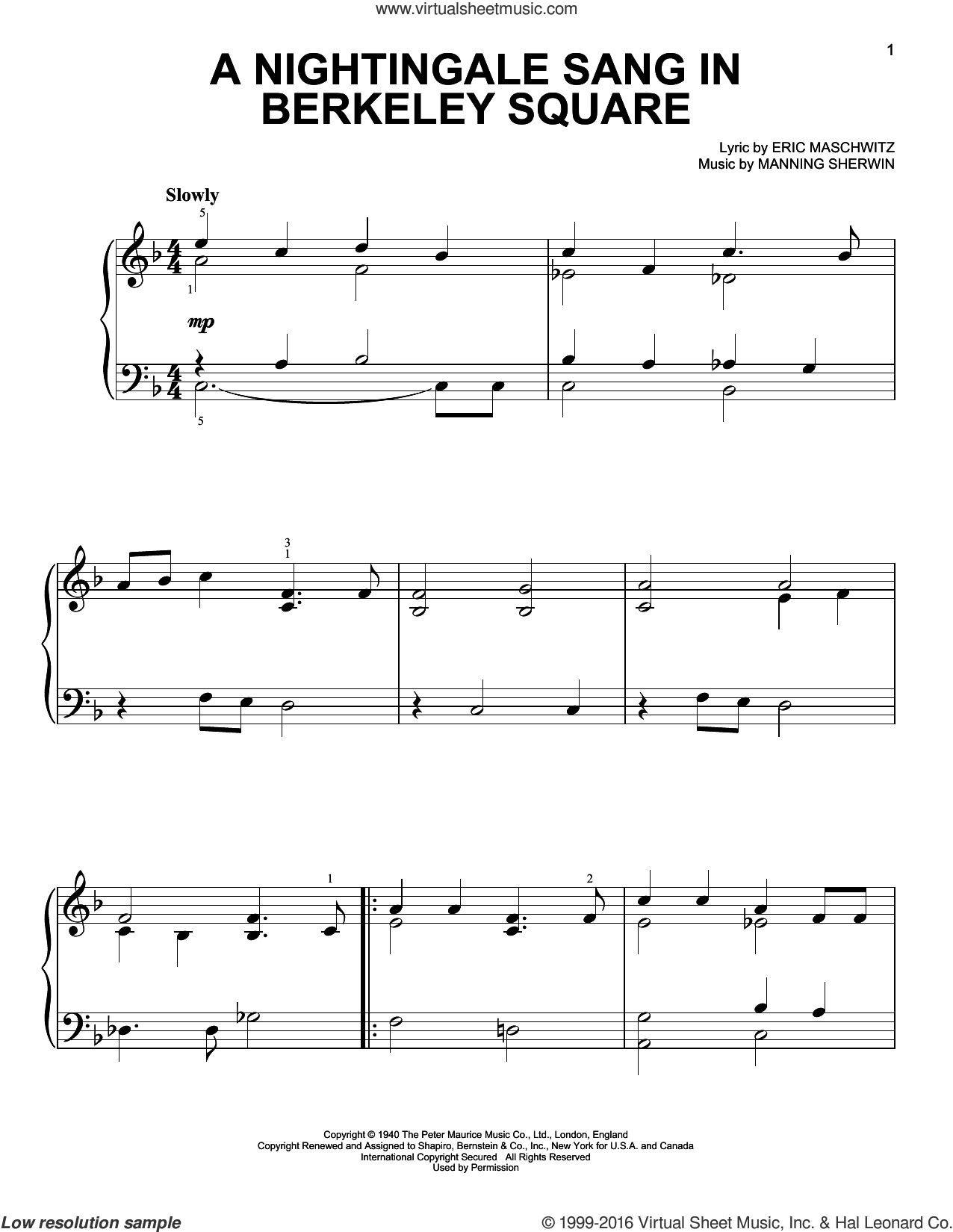 A Nightingale Sang In Berkeley Square, (easy) sheet music for piano solo by Manhattan Transfer, Eric Maschwitz and Manning Sherwin, easy skill level