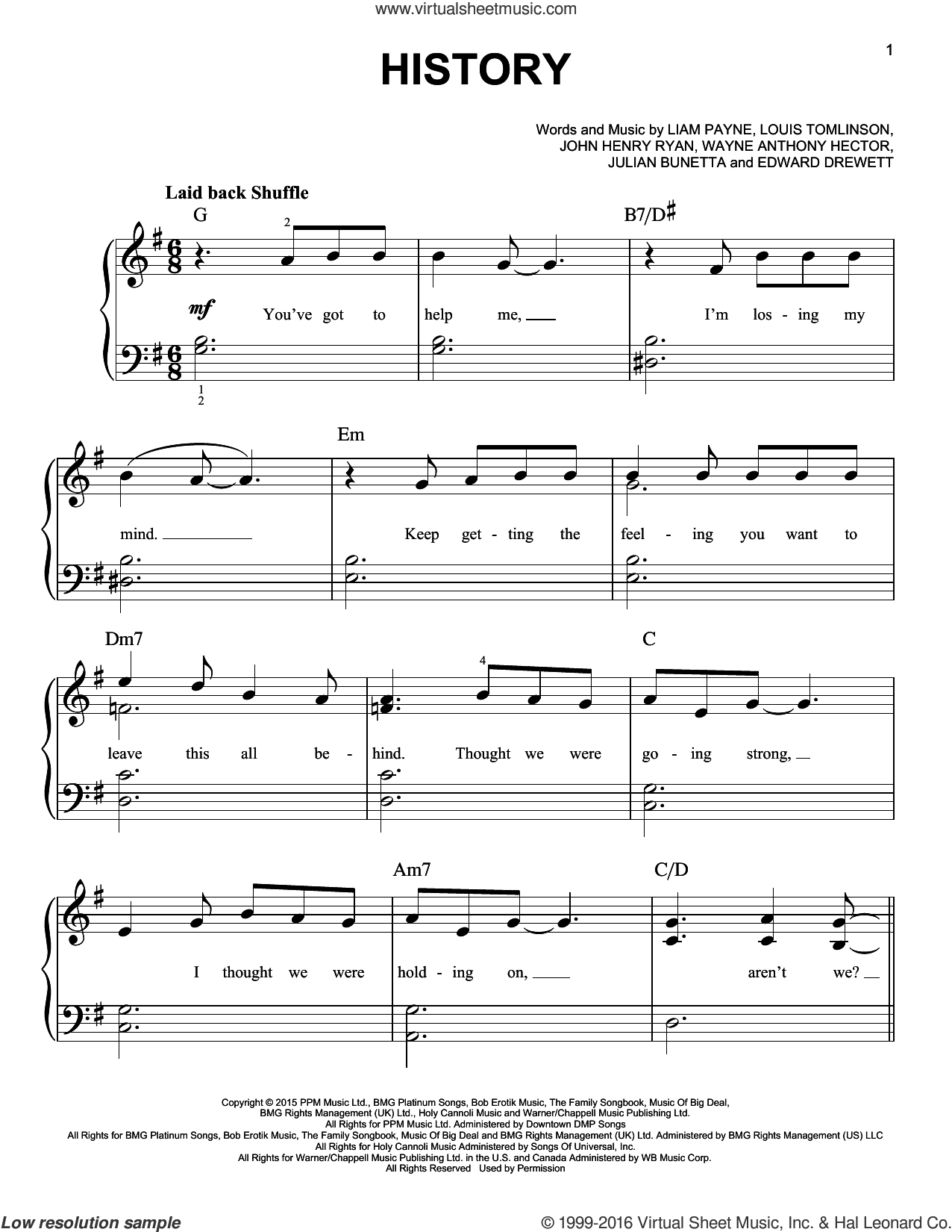 History sheet music for piano solo by One Direction, Edward Drewett, John Henry Ryan, Julian Bunetta, Liam Payne, Louis Tomlinson and Wayne Hector, easy