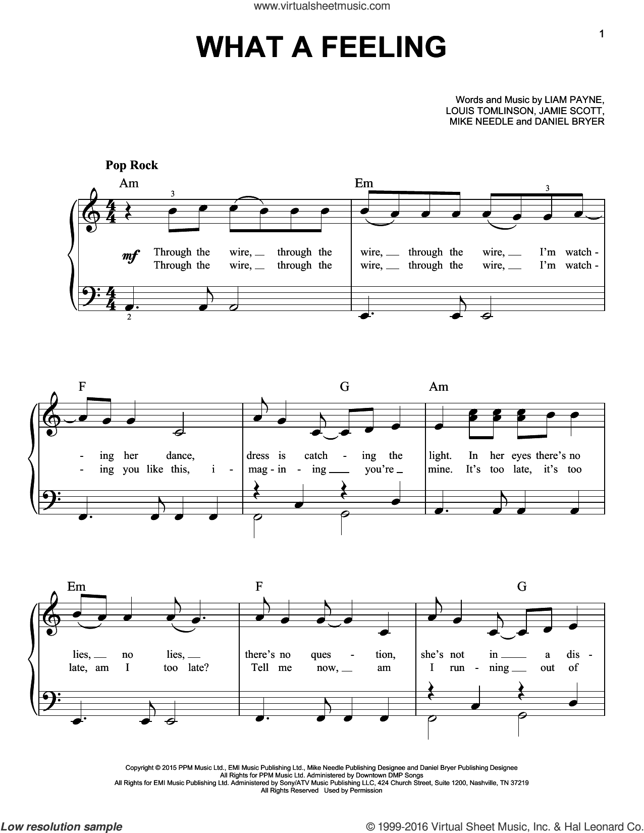 What A Feeling sheet music for piano solo by One Direction, Daniel Bryer, Jamie Scott, Liam Payne, Louis Tomlinson and Mike Needle, easy skill level
