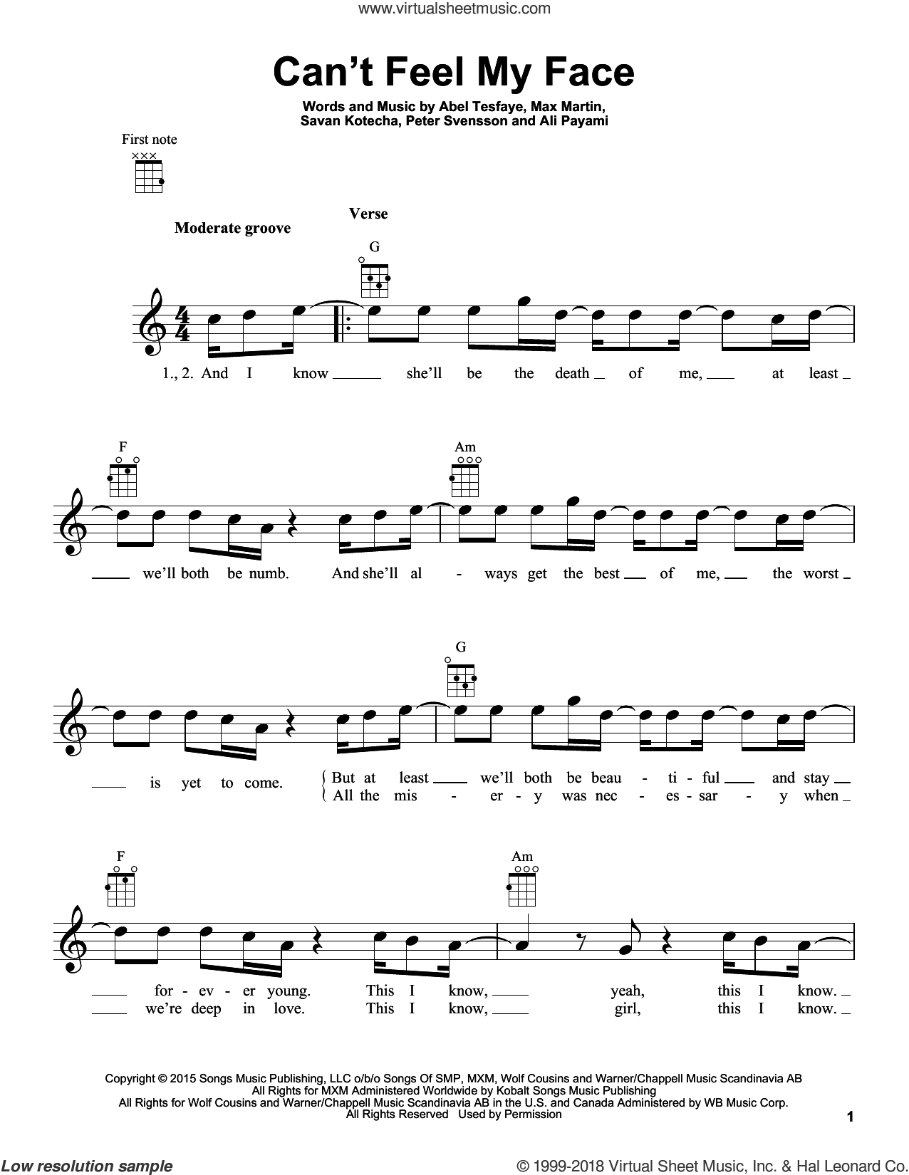 Can't Feel My Face sheet music for ukulele by The Weeknd, Ali Payami, Max Martin, Peter Svensson and Savan Kotecha. Score Image Preview.
