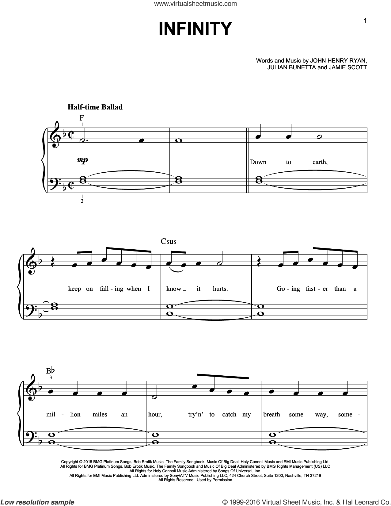 Infinity sheet music for piano solo by One Direction, Jamie Scott, John Henry Ryan and Julian Bunetta, easy skill level
