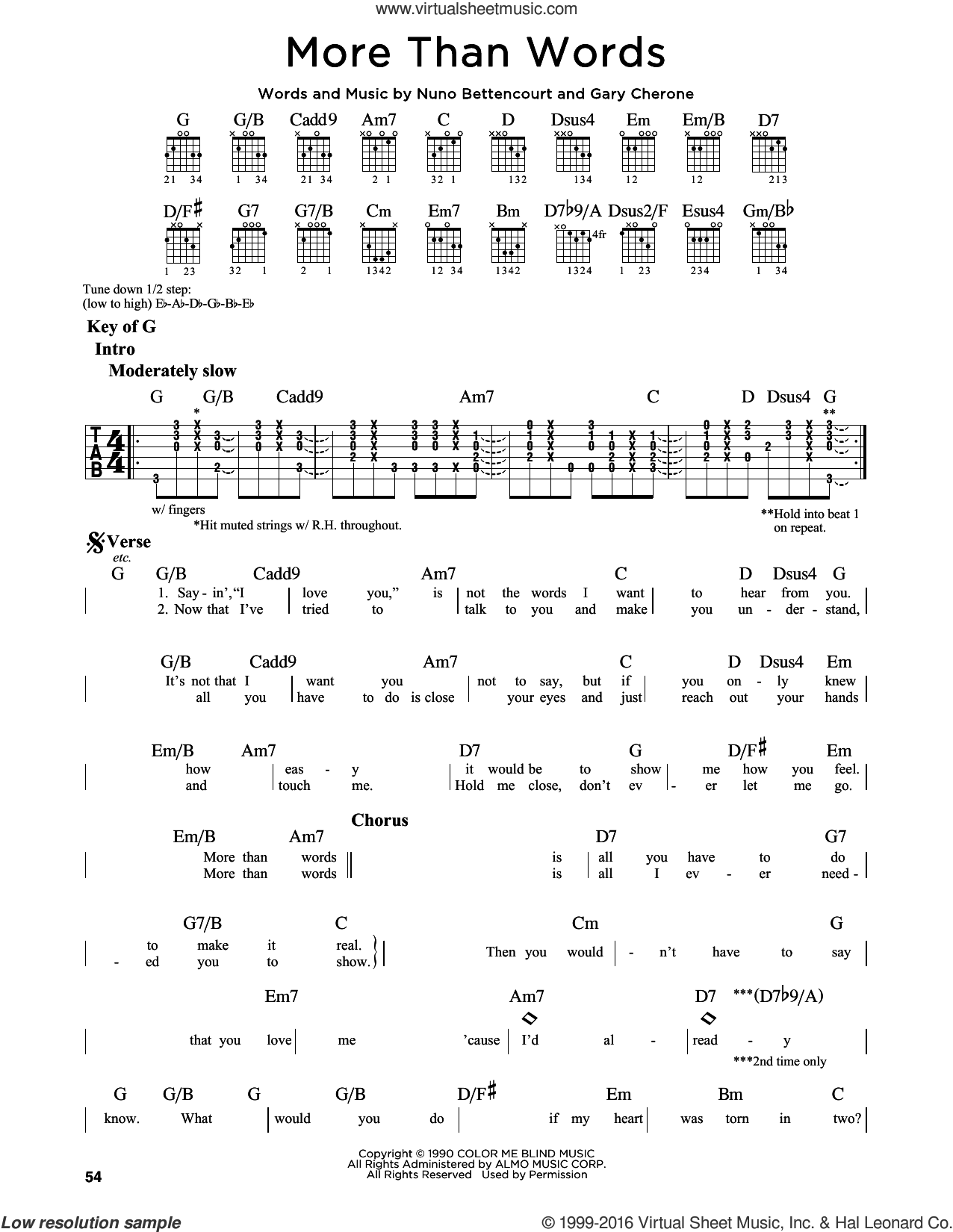 More Than Words sheet music for guitar solo (lead sheet) by Extreme, Gary Cherone and Nuno Bettencourt, intermediate guitar (lead sheet). Score Image Preview.