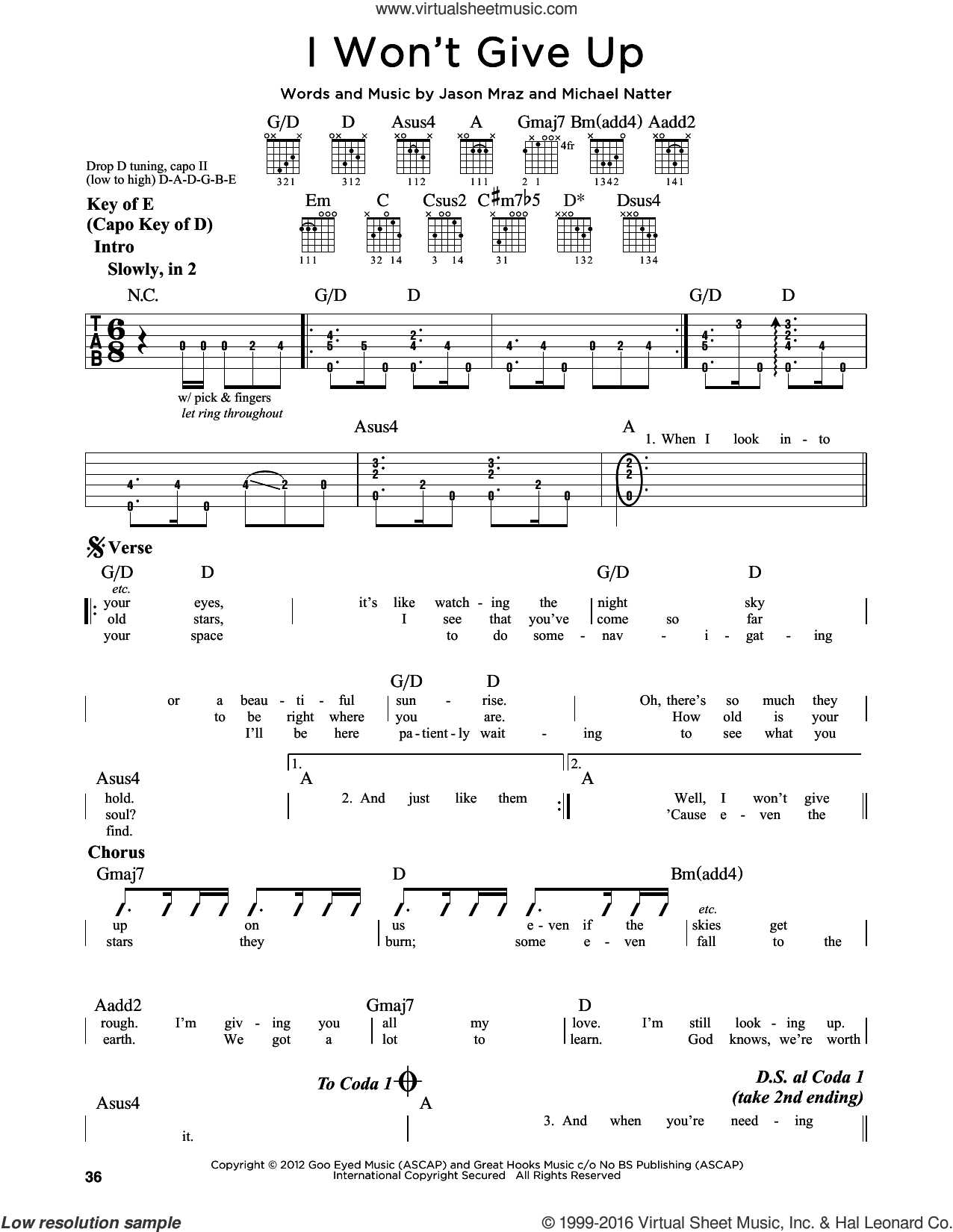 I Won't Give Up sheet music for guitar solo (lead sheet) by Jason Mraz, Miscellaneous and Michael Natter, intermediate guitar (lead sheet)