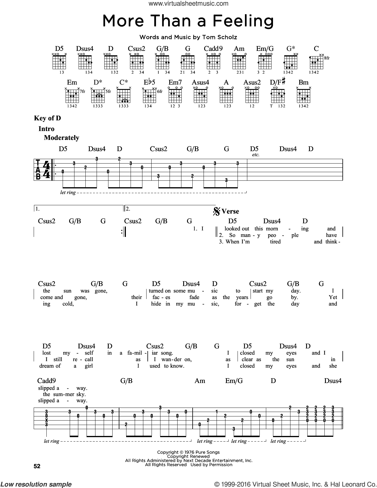 More Than A Feeling sheet music for guitar solo (lead sheet) by Tom Scholz