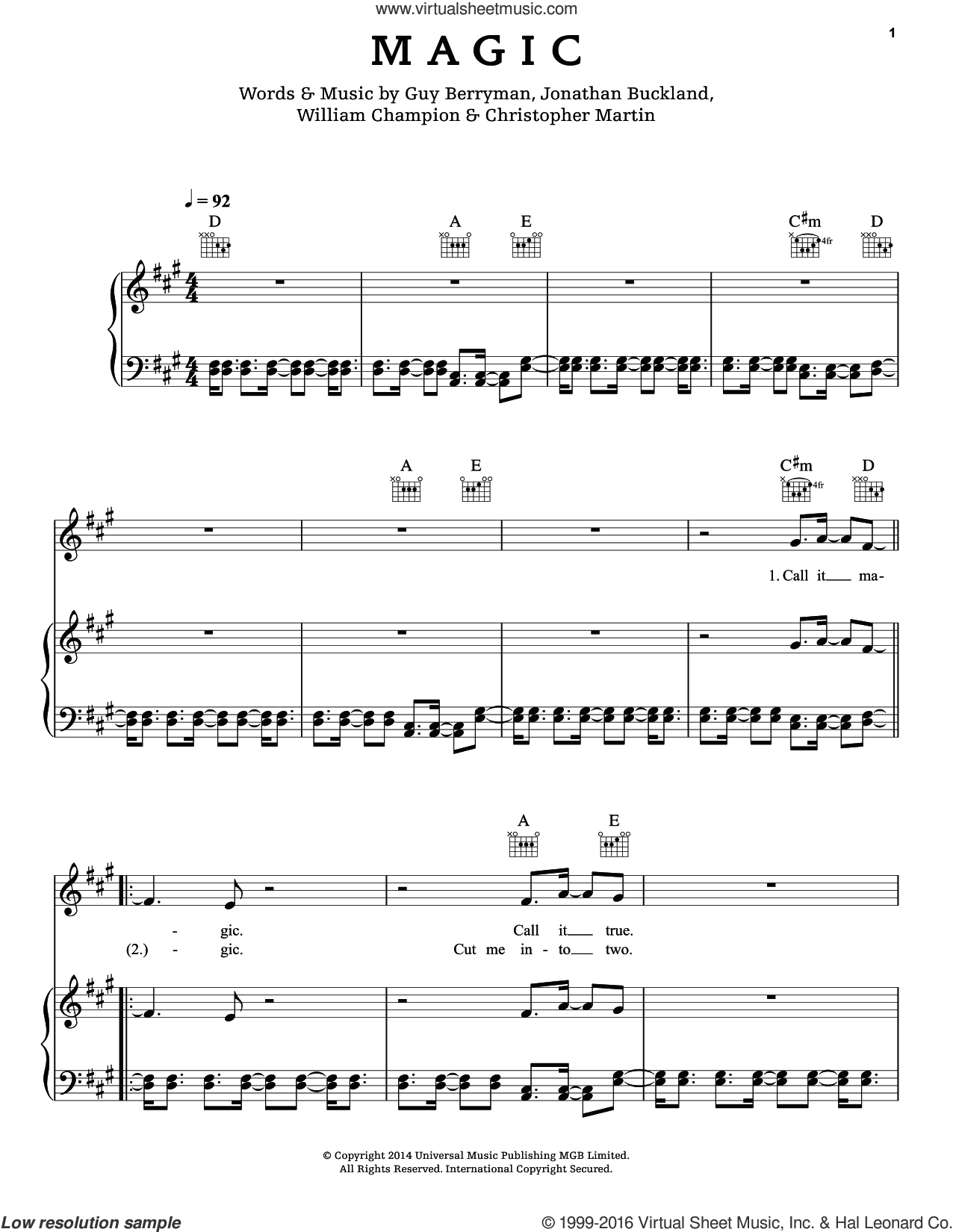 Magic sheet music for voice, piano or guitar by Will Champion, Coldplay, Chris Martin, Guy Berryman and Jon Buckland. Score Image Preview.