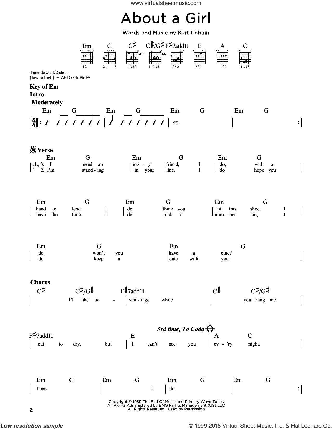 About A Girl sheet music for guitar solo (lead sheet) by Kurt Cobain