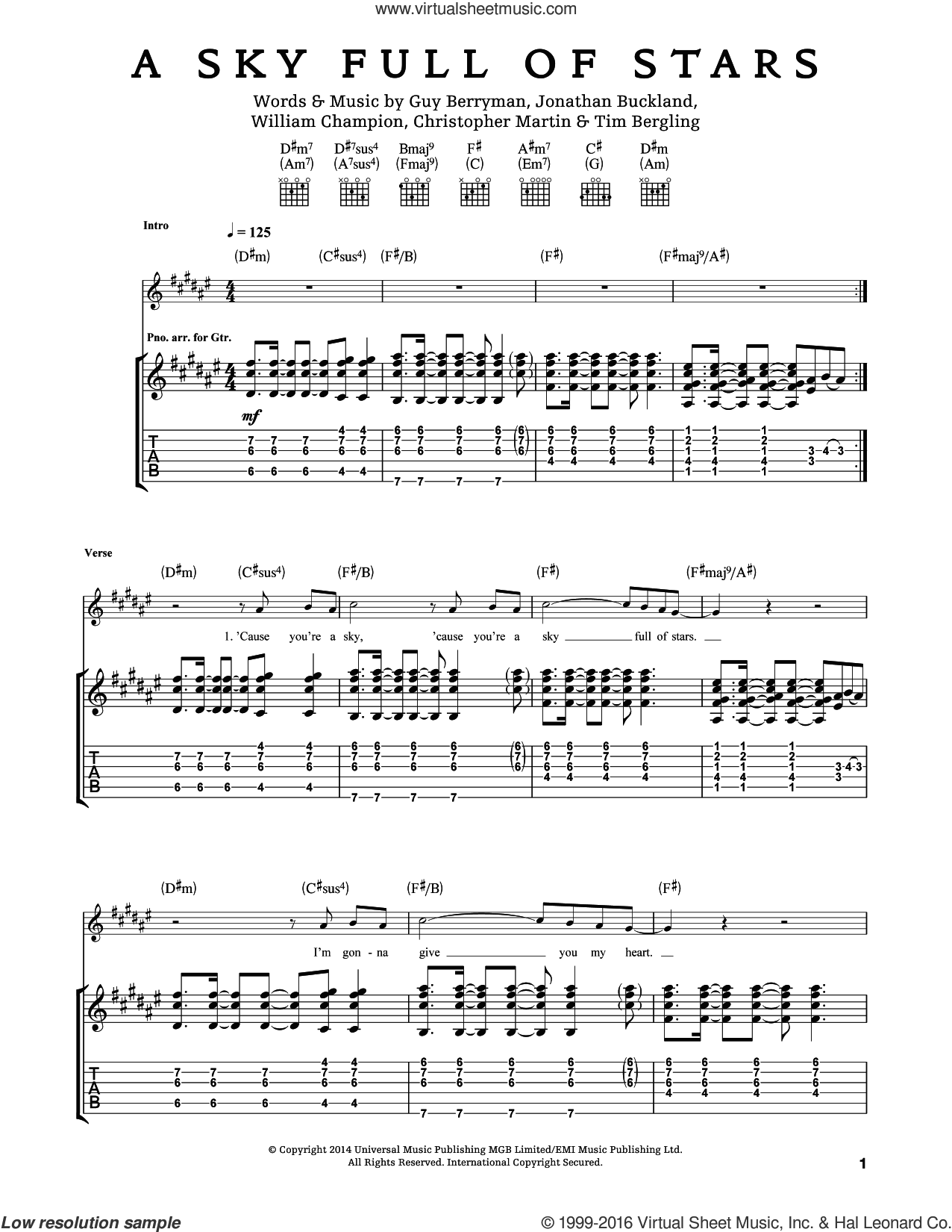 A Sky Full Of Stars sheet music for guitar (tablature) by Will Champion, Coldplay, Chris Martin, Guy Berryman, Jon Buckland and Tim Bergling. Score Image Preview.