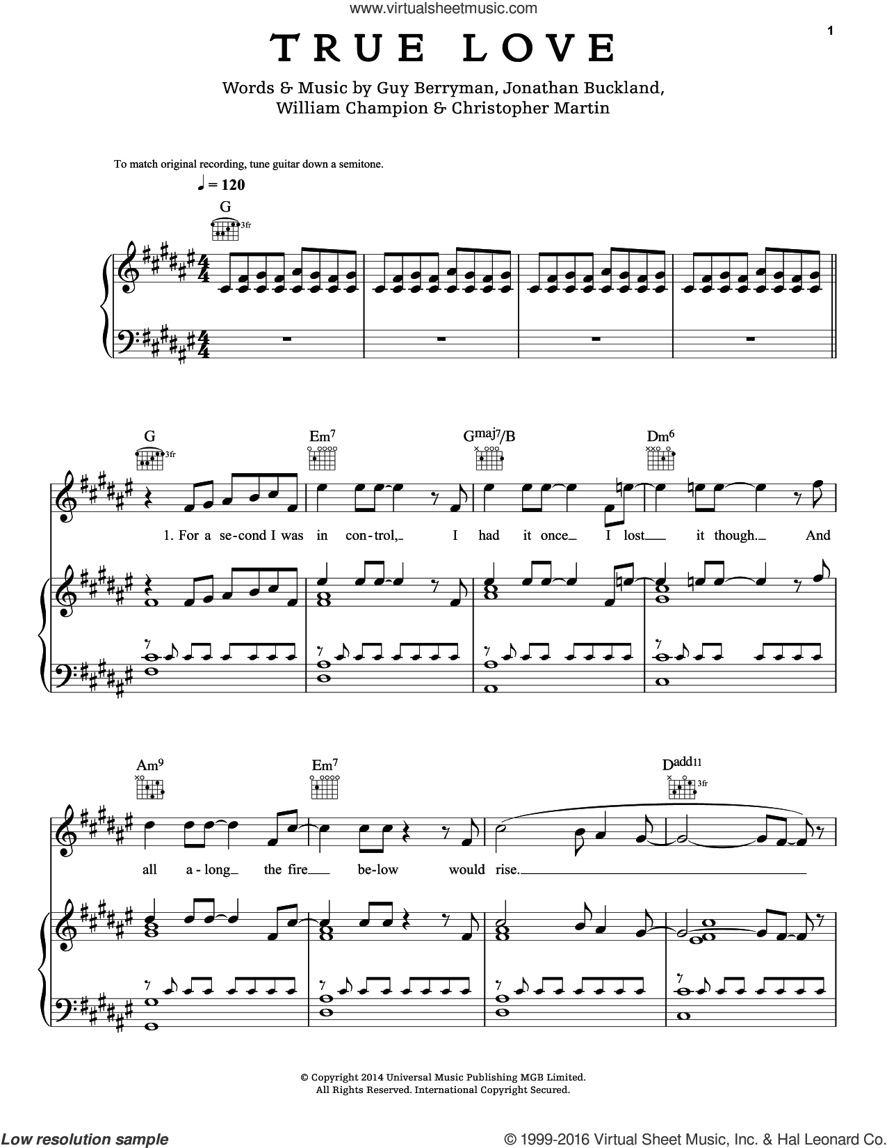 True Love sheet music for voice, piano or guitar by Chris Martin, Coldplay, Guy Berryman, Jon Buckland and Will Champion, intermediate skill level