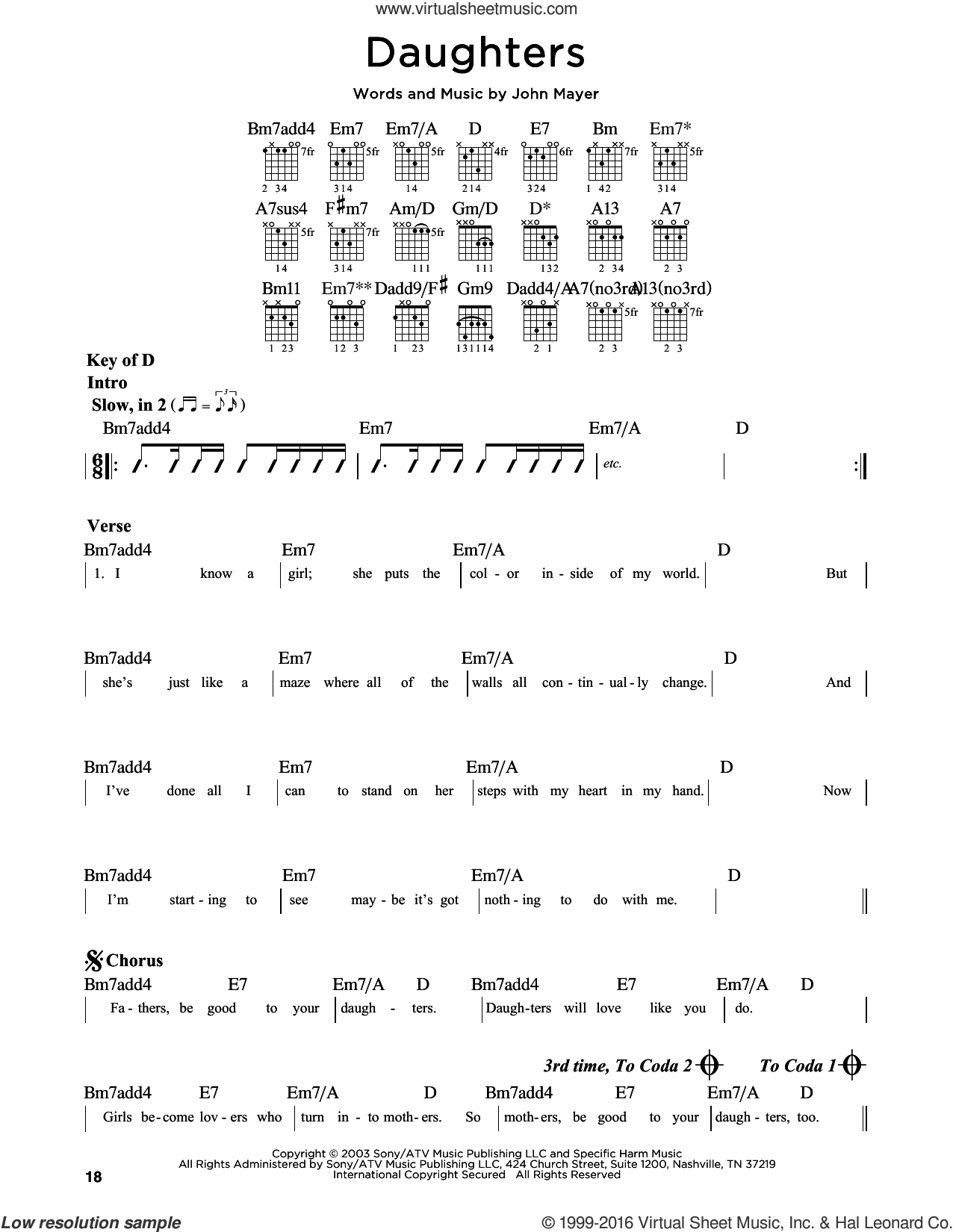 Daughters sheet music for guitar solo (lead sheet) by John Mayer, intermediate guitar (lead sheet)