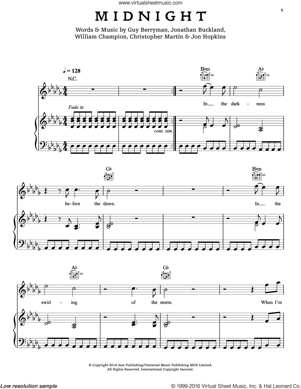 Midnight sheet music for voice, piano or guitar by Guy Berryman, Coldplay, Chris Martin, Jon Buckland, Jon Hopkins and Will Champion, intermediate skill level