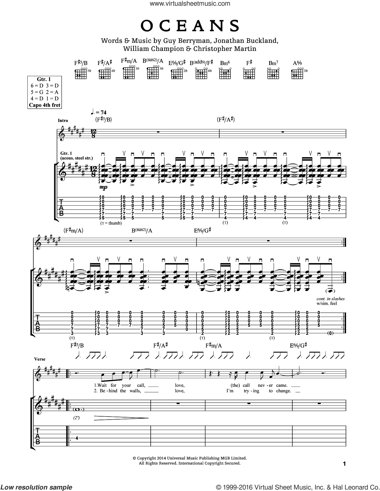 Oceans sheet music for guitar (tablature) by Guy Berryman, Coldplay, Chris Martin, Jon Buckland and Will Champion, intermediate skill level