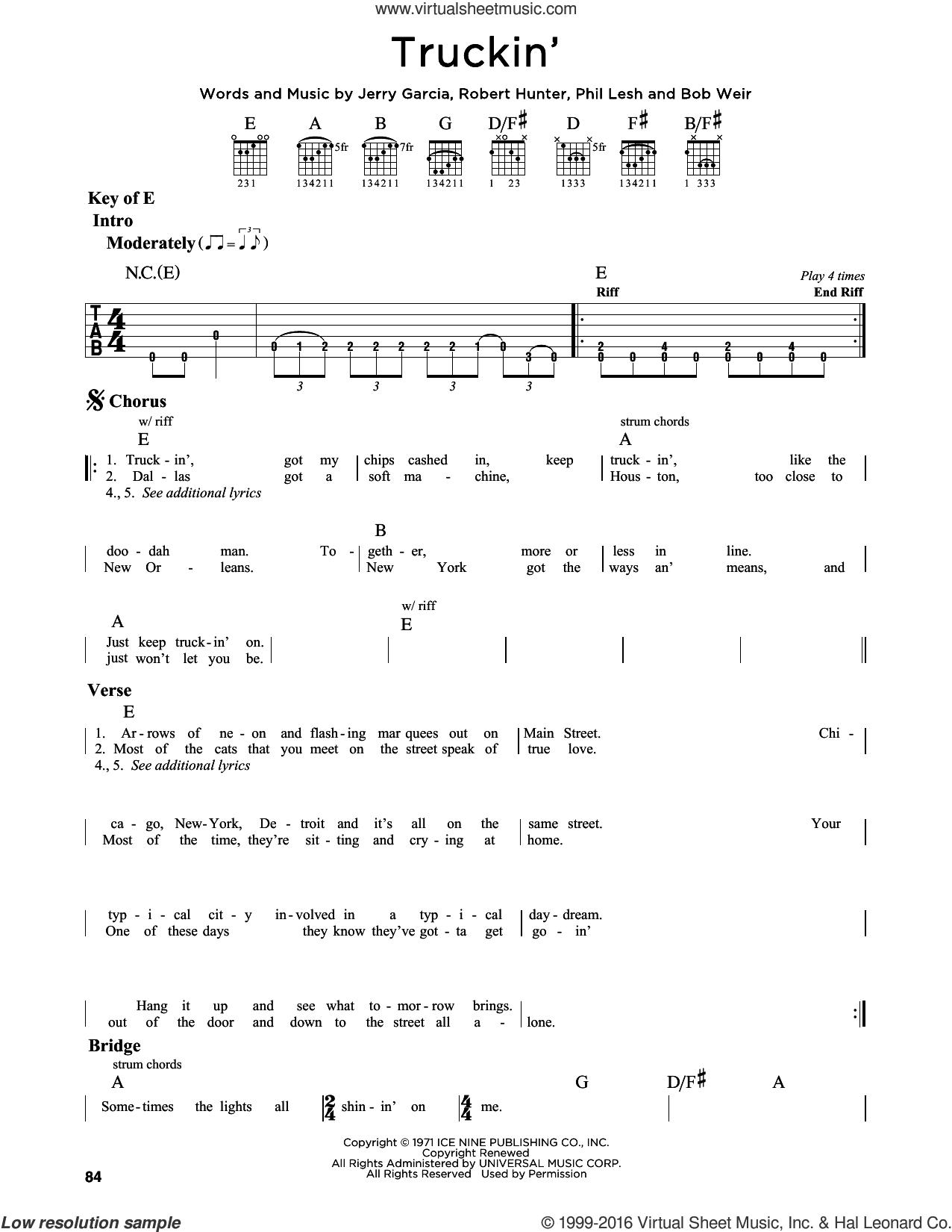 Truckin' sheet music for guitar solo (lead sheet) by Grateful Dead, Bob Weir, Jerry Garcia, Phil Lesh and Robert Hunter, intermediate guitar (lead sheet)