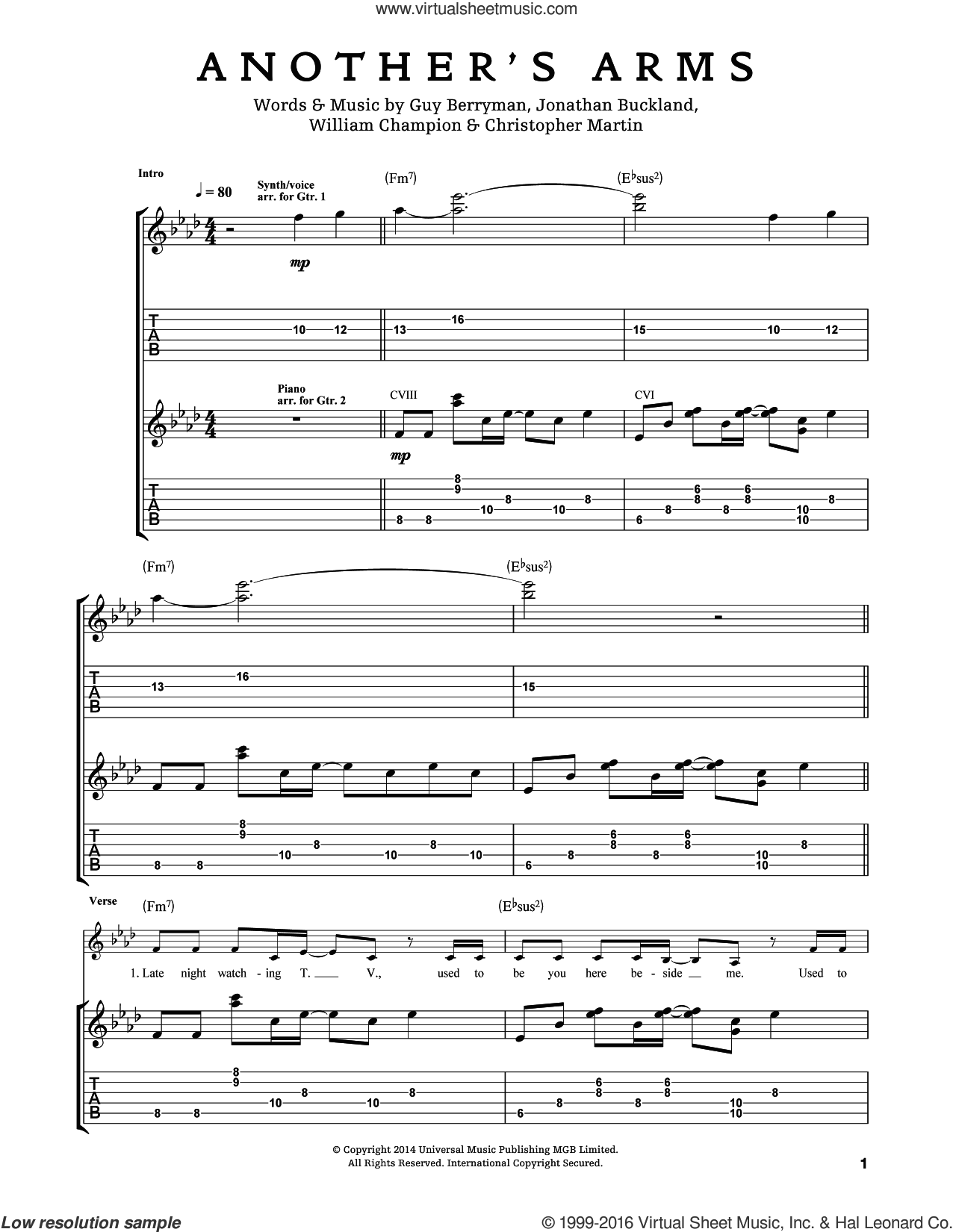 Another's Arms sheet music for guitar (tablature) by Chris Martin, Coldplay, Guy Berryman, Jon Buckland and Will Champion, intermediate skill level
