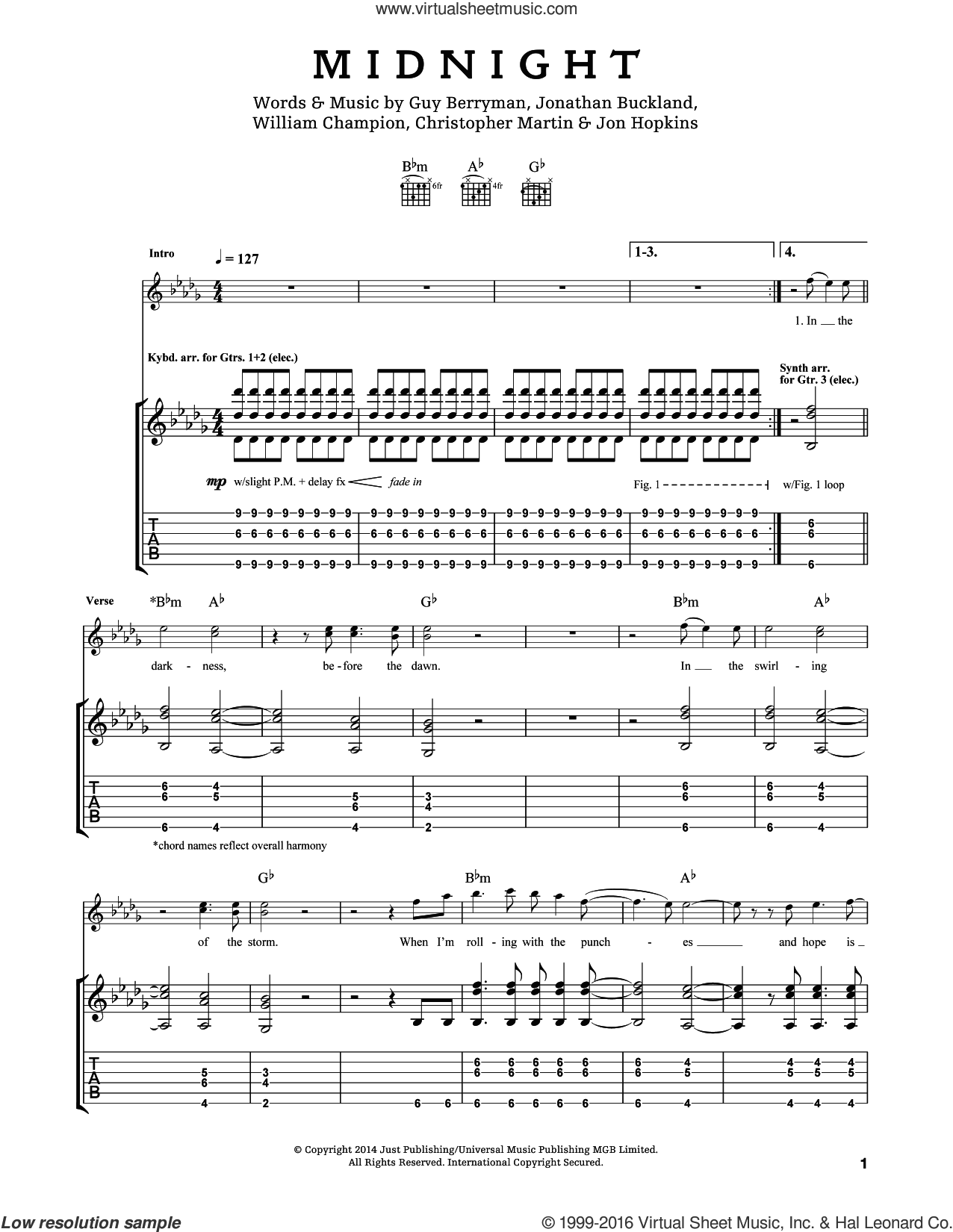 Midnight sheet music for guitar (tablature) by Will Champion, Coldplay, Chris Martin, Guy Berryman and Jon Buckland. Score Image Preview.
