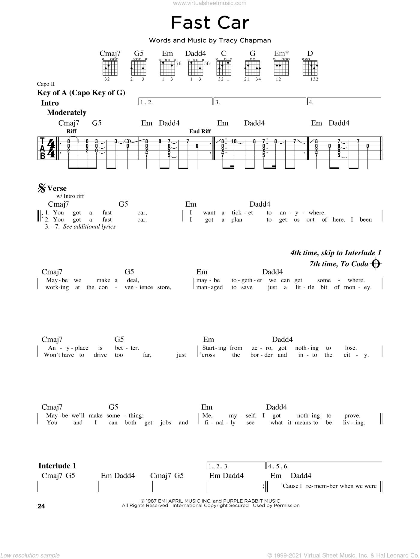 Fast Car sheet music for guitar solo (lead sheet) by Tracy Chapman, intermediate guitar (lead sheet)