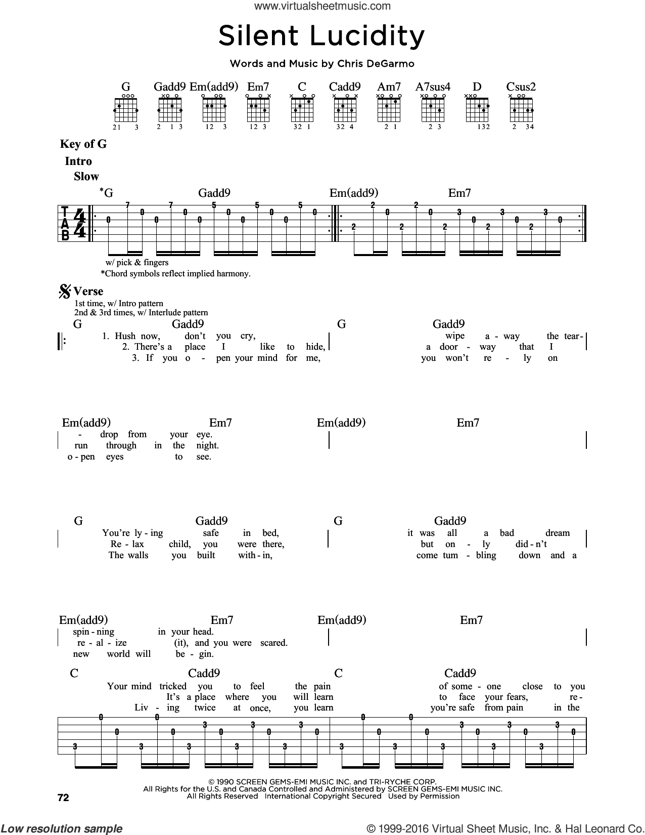 Silent Lucidity sheet music for guitar solo (lead sheet) by Queensryche and Chris DeGarmo, intermediate guitar (lead sheet)