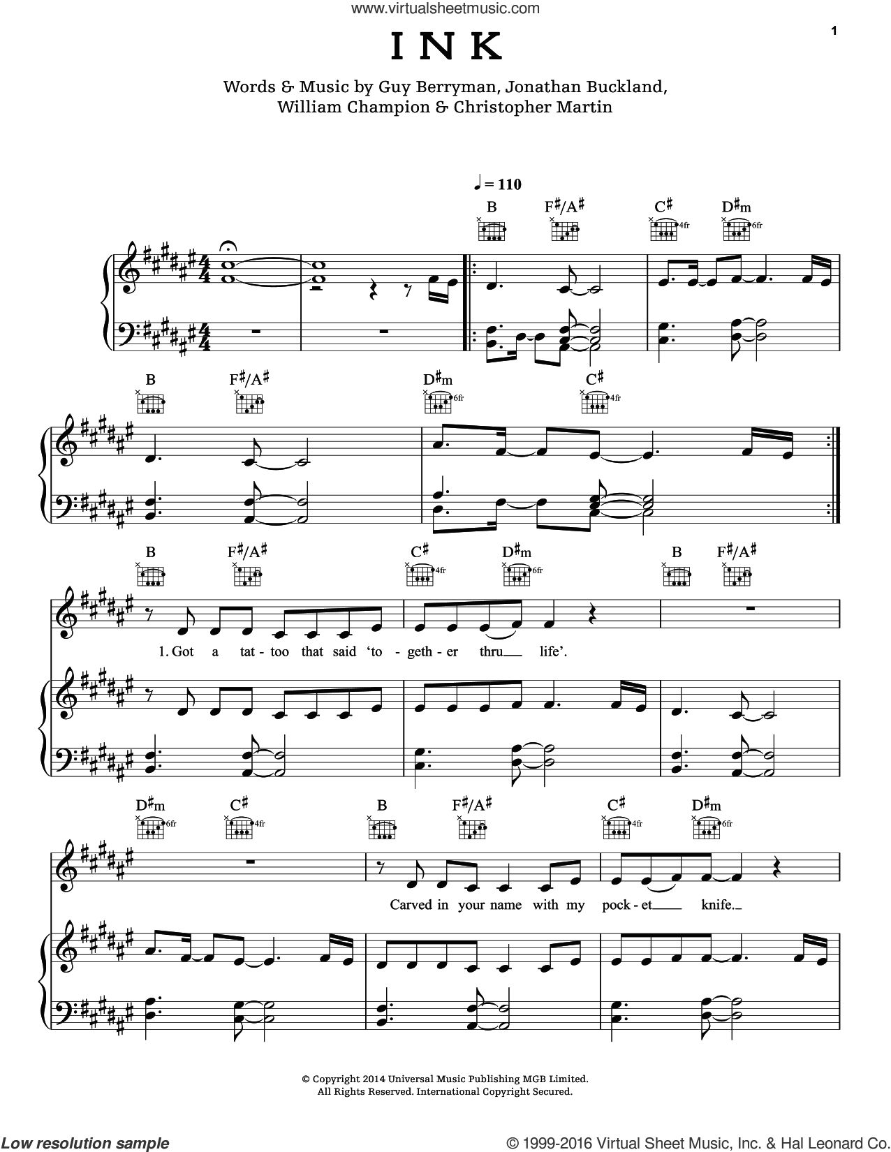 Ink sheet music for voice, piano or guitar by Coldplay. Score Image Preview.