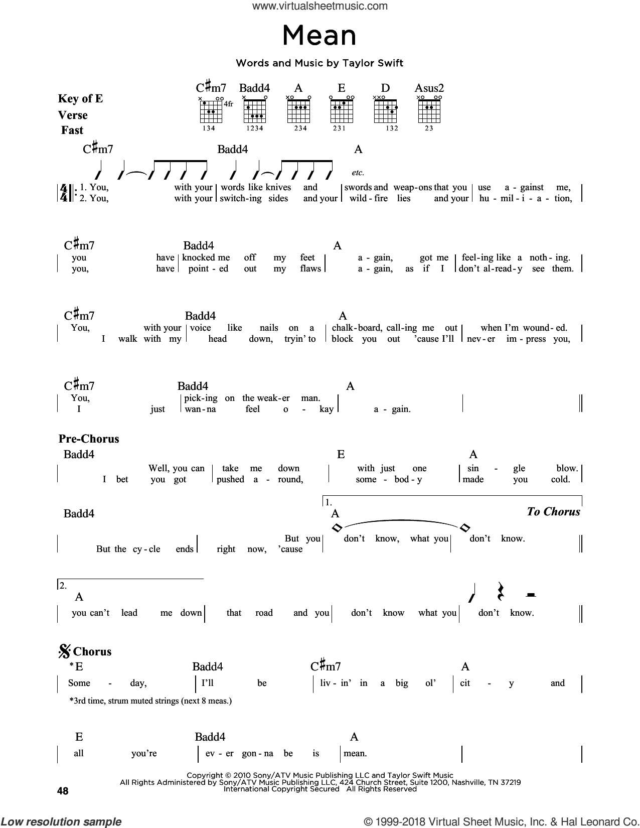 Mean sheet music for guitar solo (lead sheet) by Taylor Swift. Score Image Preview.
