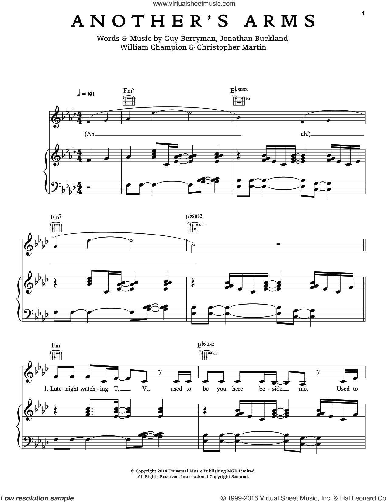 Another's Arms sheet music for voice, piano or guitar by Chris Martin, Coldplay, Guy Berryman, Jon Buckland and Will Champion, intermediate skill level