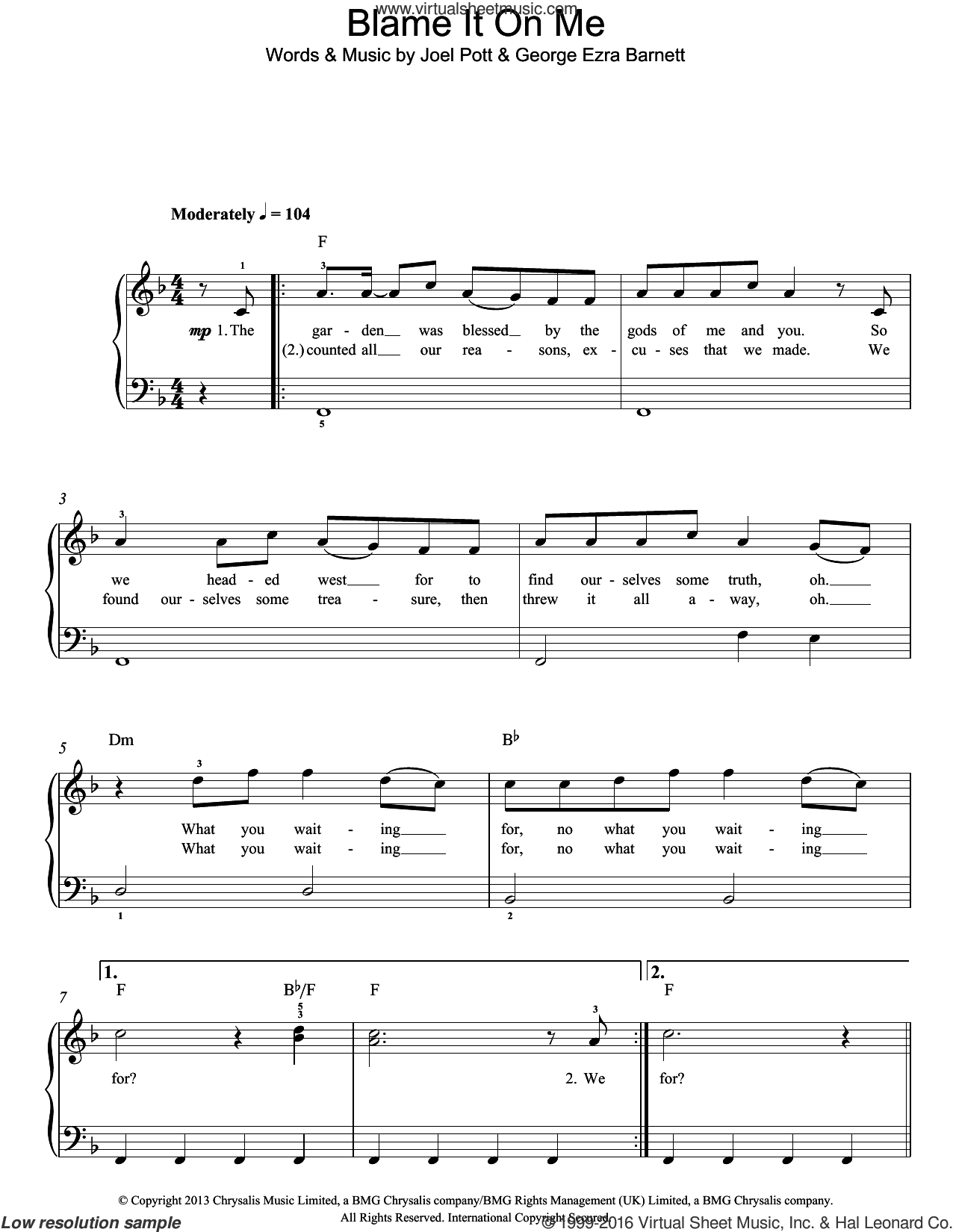 Blame It On Me sheet music for piano solo by George Ezra Barnett and Joel Pott. Score Image Preview.