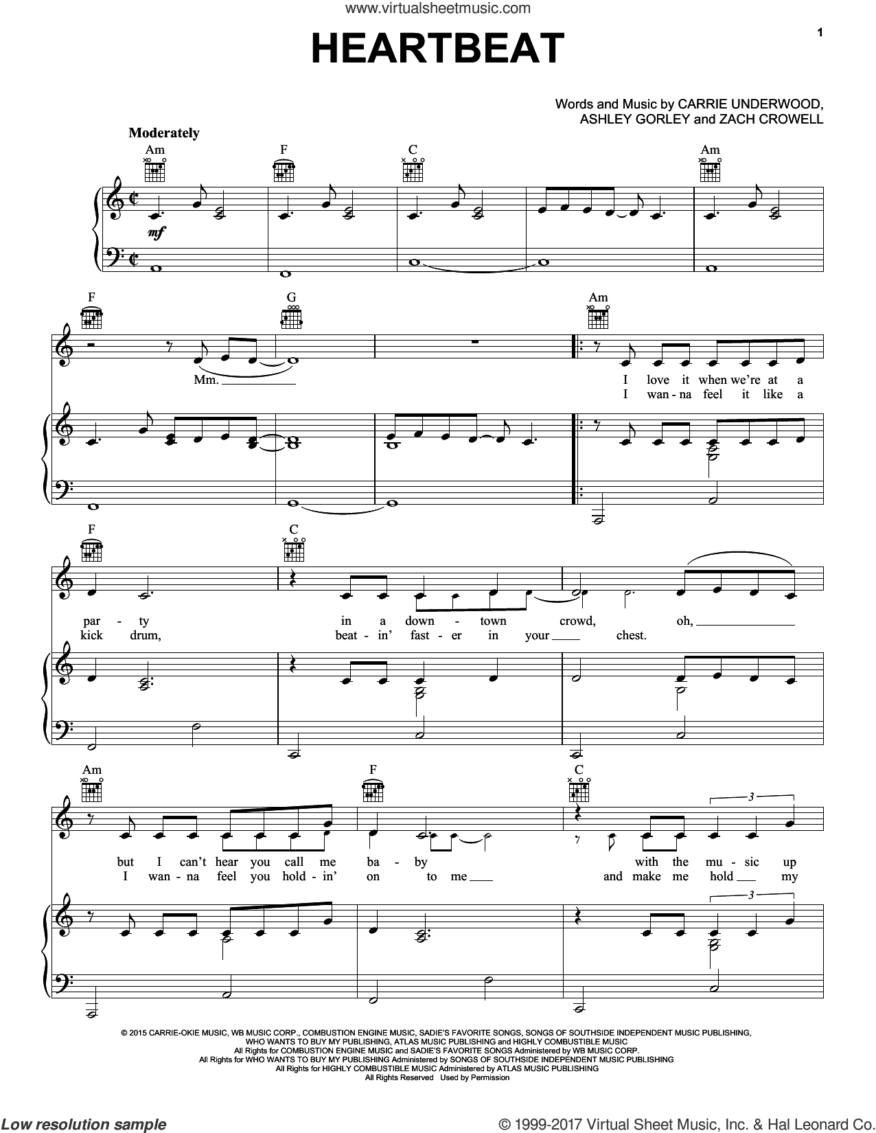 Heartbeat sheet music for voice, piano or guitar by Carrie Underwood, Ashley Gorley and Zach Crowell, intermediate skill level