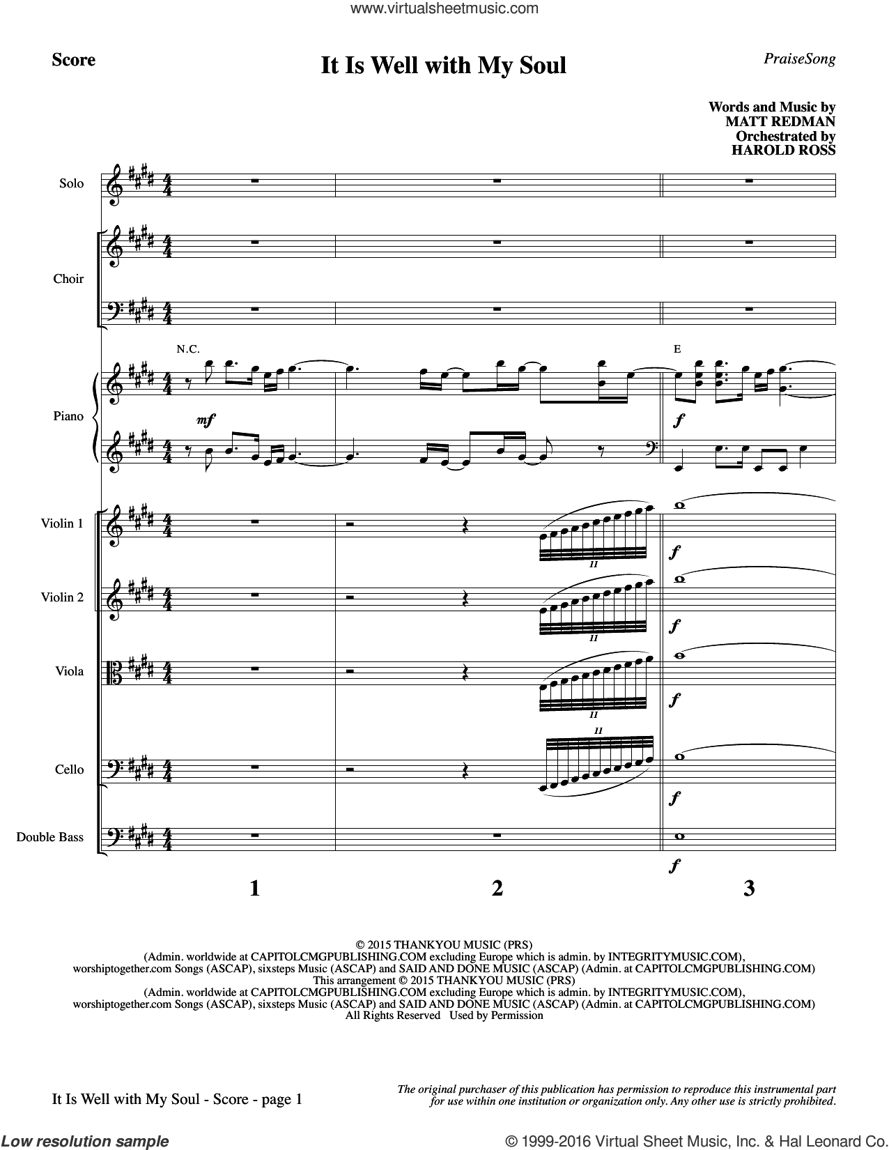 It Is Well with My Soul sheet music for orchestra/band (full score) by Matt Redman, Harold Ross, Horatio G. Spafford, Philip P. Bliss and Beth Redman. Score Image Preview.