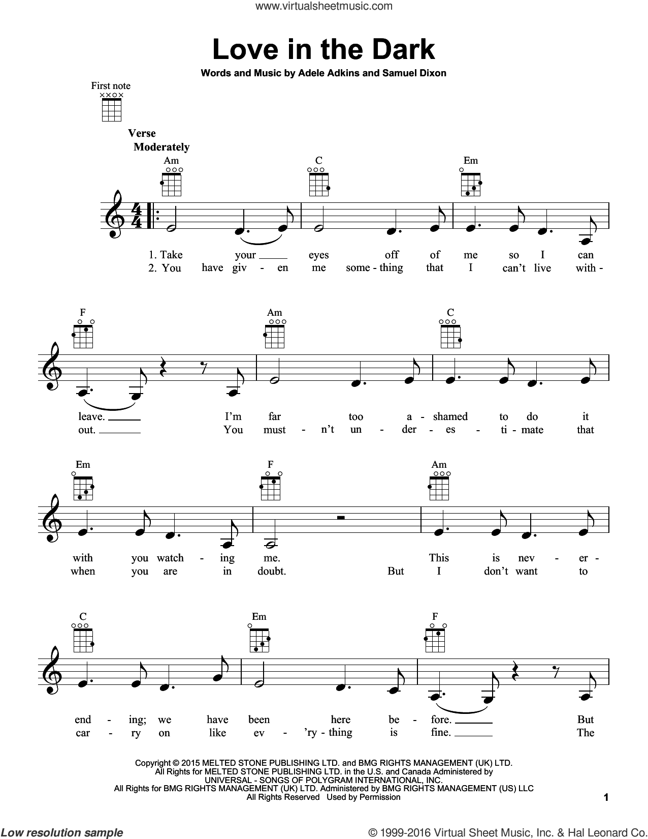 Love In The Dark sheet music for ukulele by Samuel Dixon, Adele and Adele Adkins. Score Image Preview.