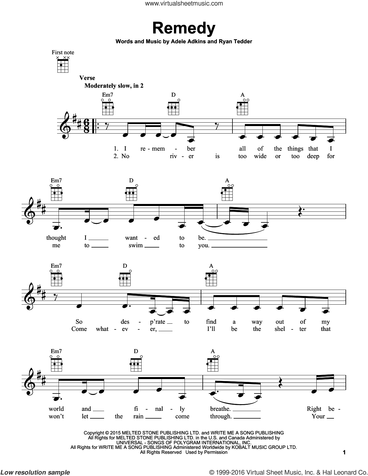 Remedy sheet music for ukulele by Adele and Ryan Tedder, intermediate ukulele. Score Image Preview.
