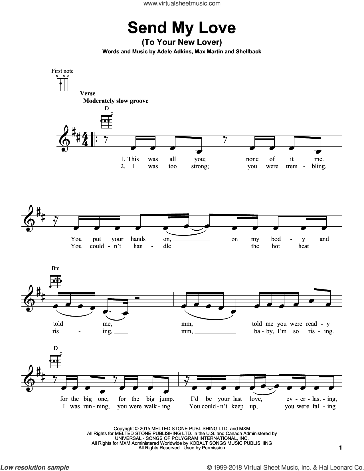 Send My Love (To Your New Lover) sheet music for ukulele by Adele, Johan Schuster, Max Martin and Shellback, intermediate. Score Image Preview.